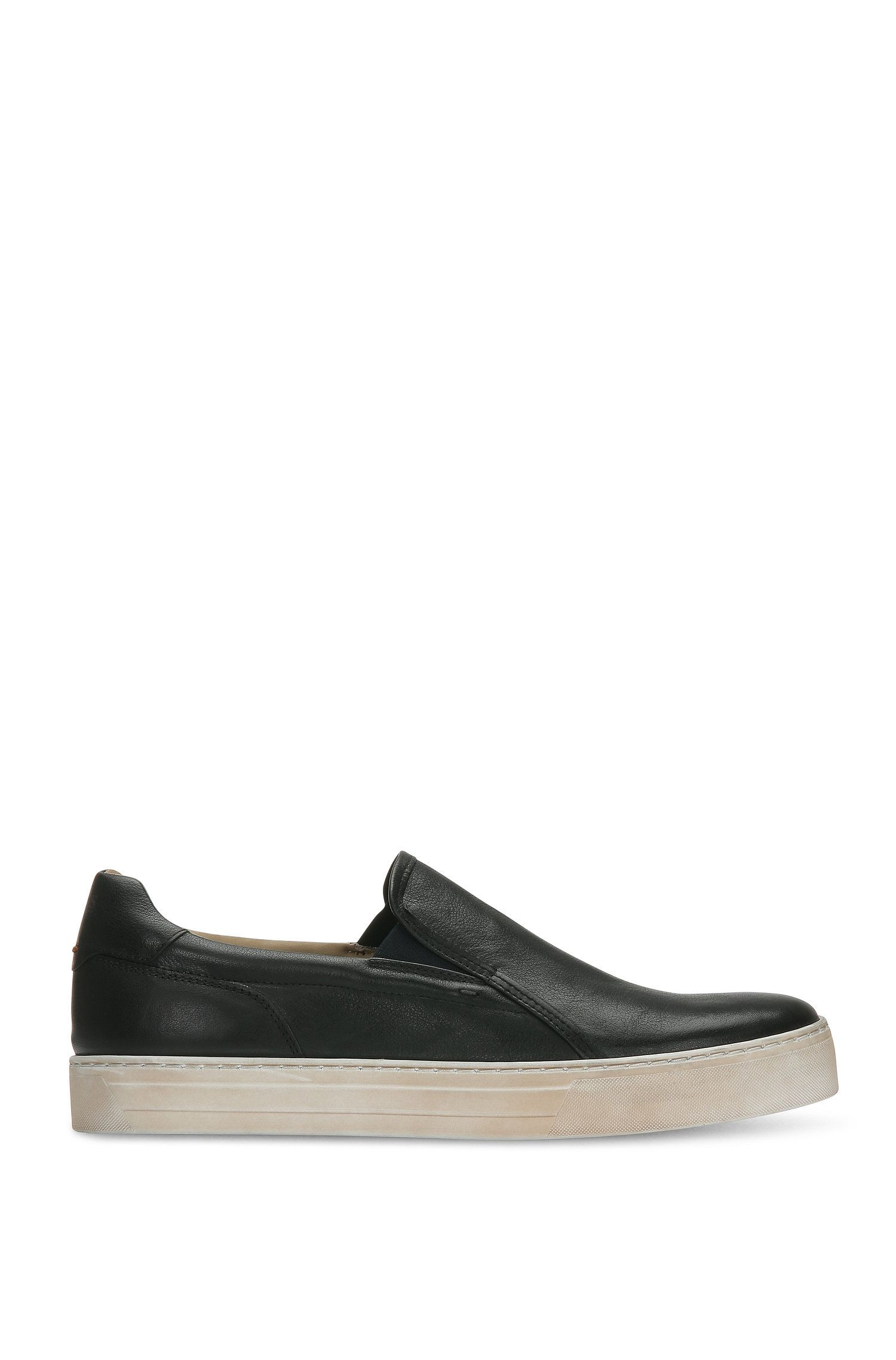 Slip-on trainers in leather with vintage finish: 'Noir_Slon_ltws'