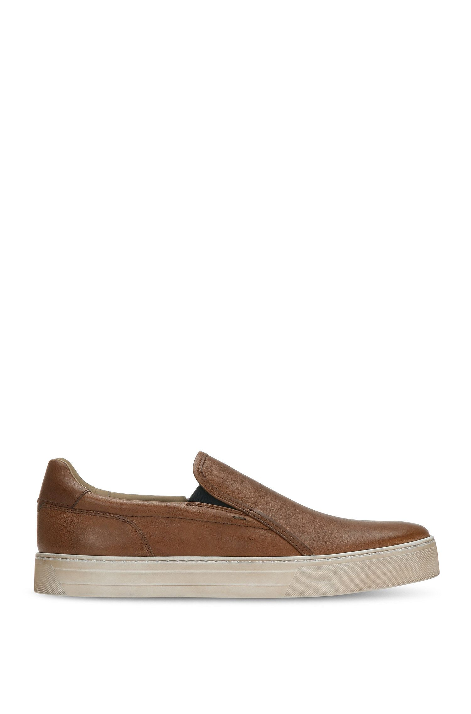 Sneakers slip-on in pelle con effetto vintage: 'Noir_Slon_ltws'