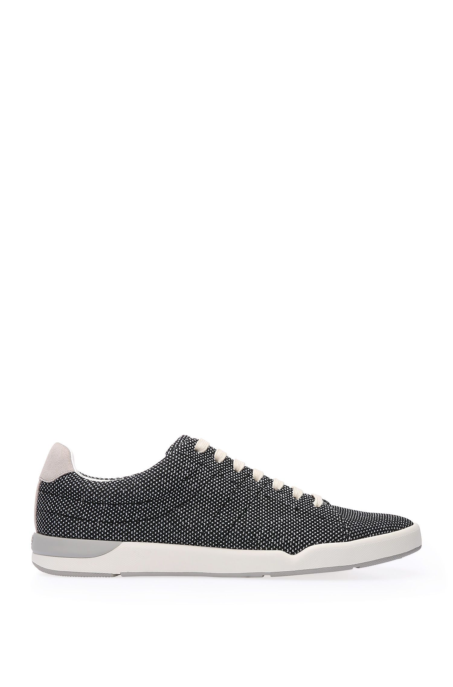 Trainers in textured fabric with leather trim: 'Stillnes_Tenn_txms'