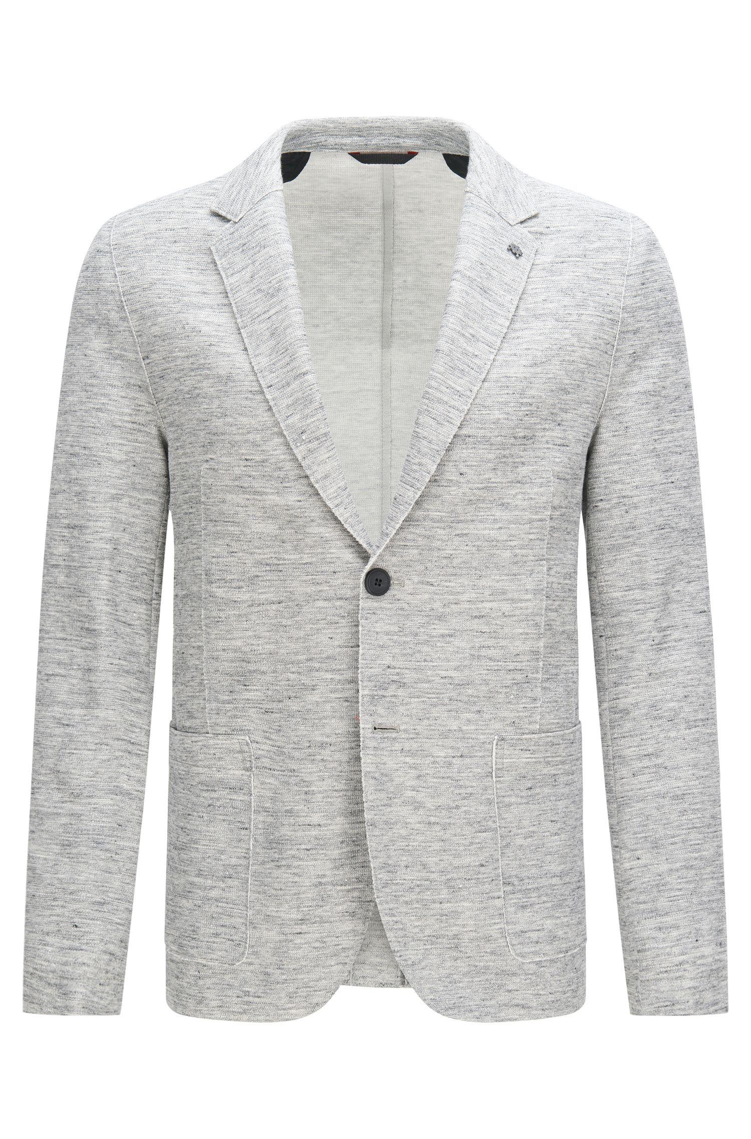Veste de costume Slim Fit chinée en coton mélangé extensible à teneur en lin: «Agalto»