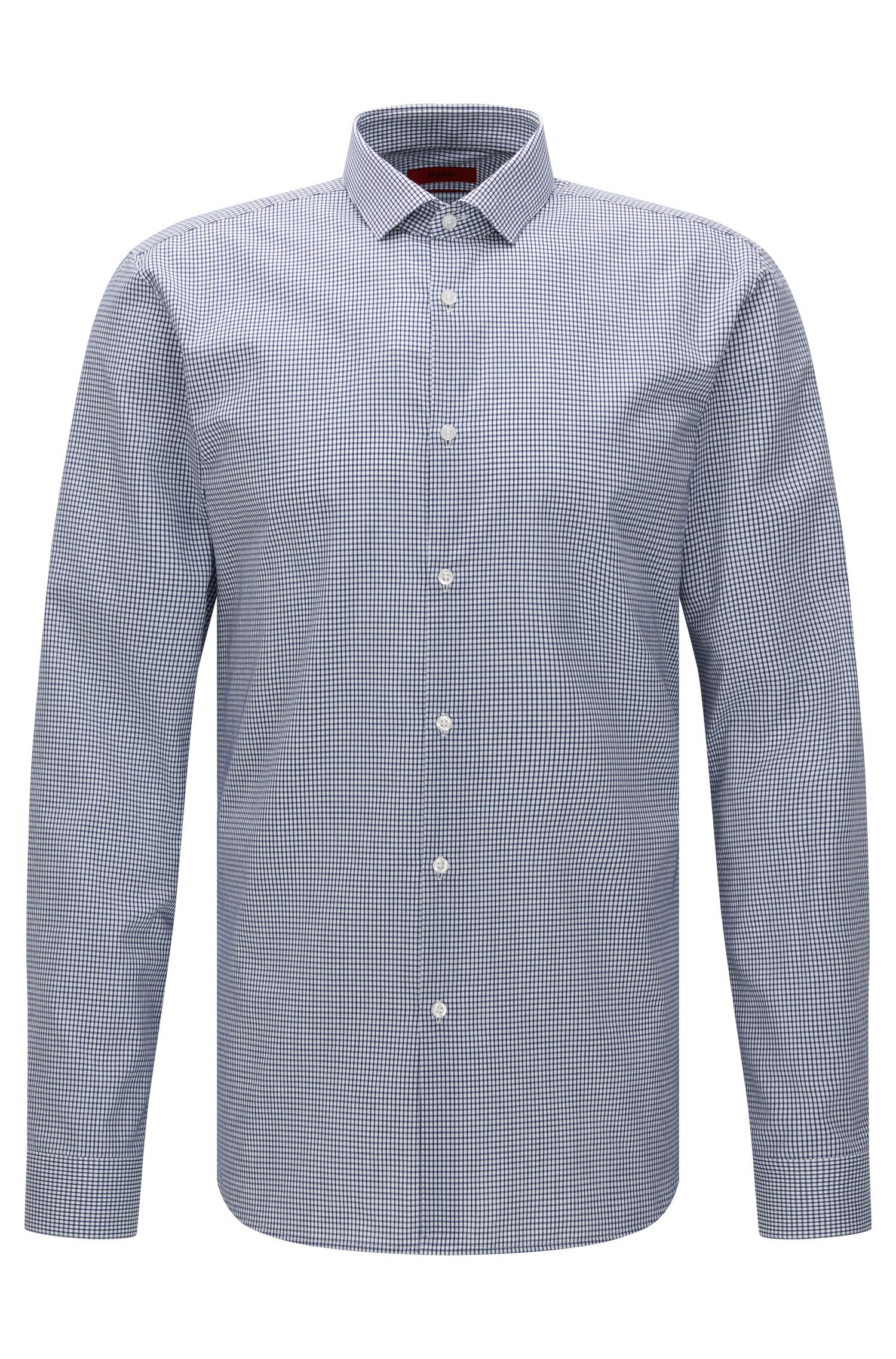 Finely checked extra slim-fit shirt in cotton: 'Erondo'