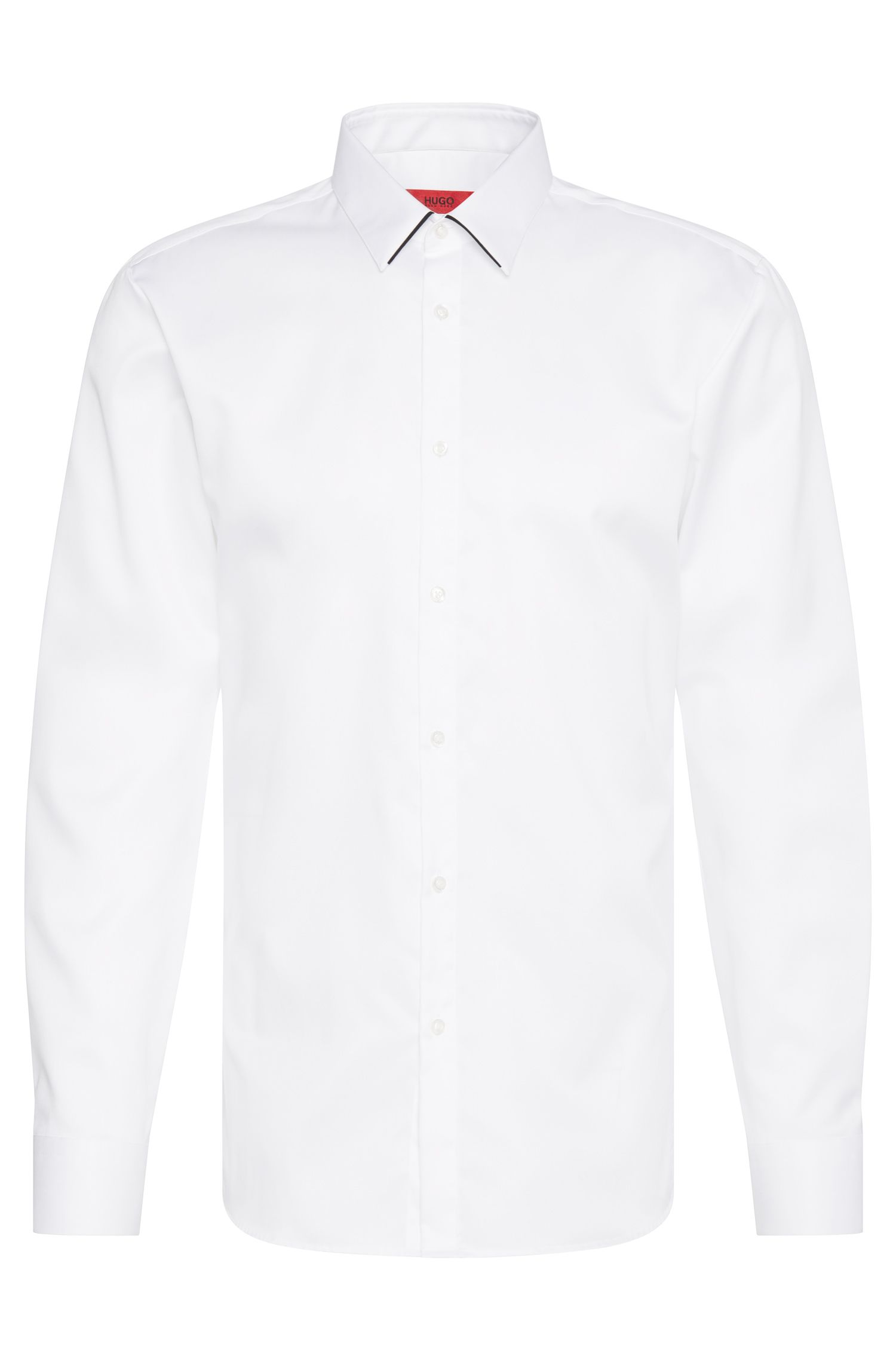 Extra slim-fit shirt in cotton with piping in a contrasting colour: 'Ekart'