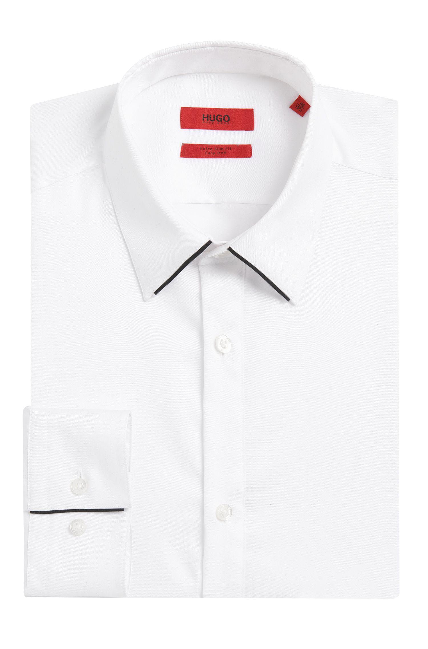 Extra Slim-Fit Hemd aus Baumwolle mit kontrastfarbenen Paspeln: 'Ekart'