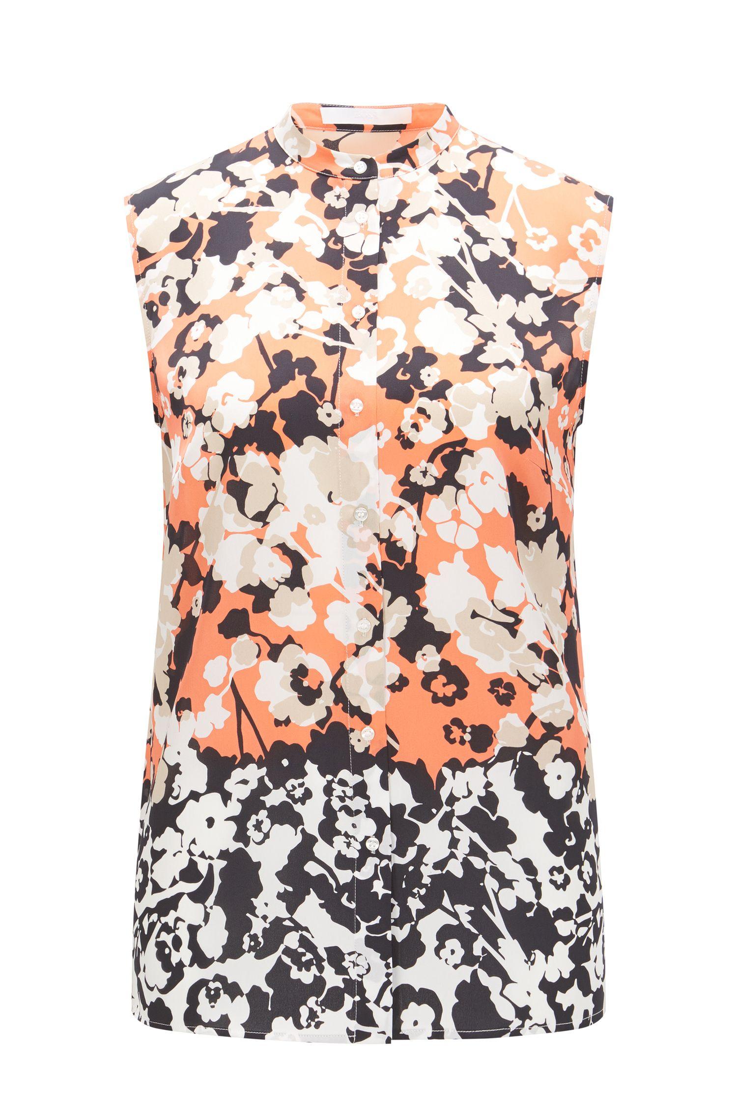 Sleeveless blouse in silk: 'Bamina'