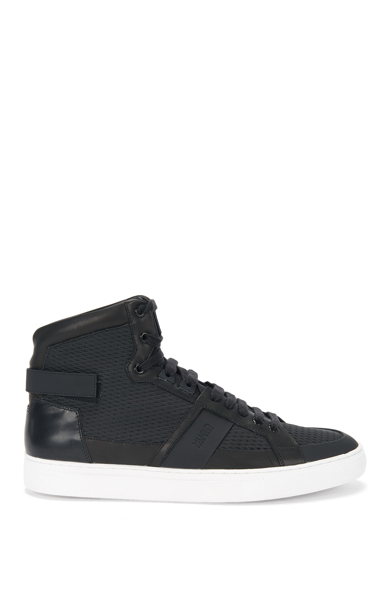 High-top leather trainers with perforated inserts: 'Futurism_Hito_ltrb'