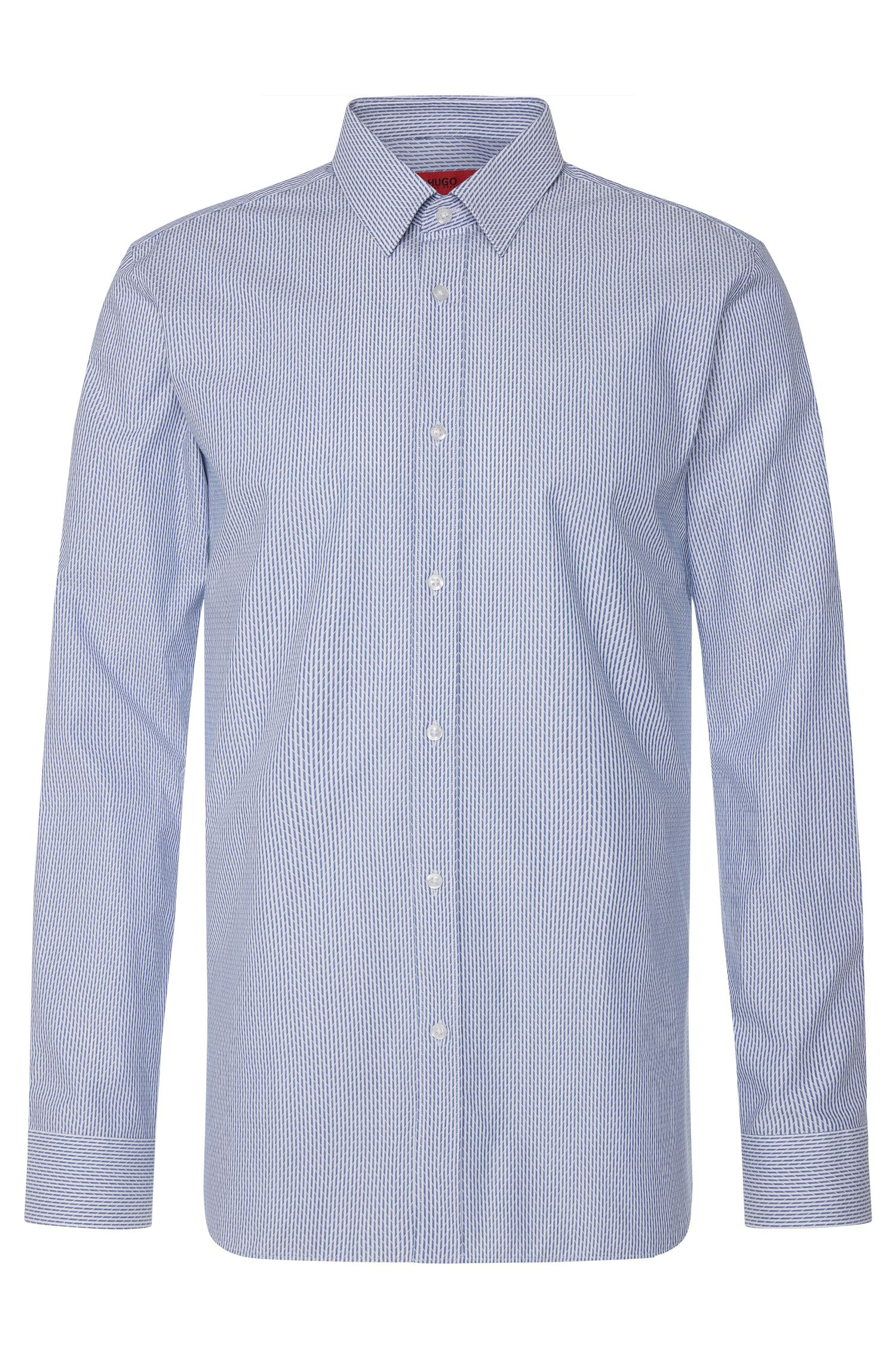 Slim-fit shirt in cotton with a graphic pattern: 'Elisha'