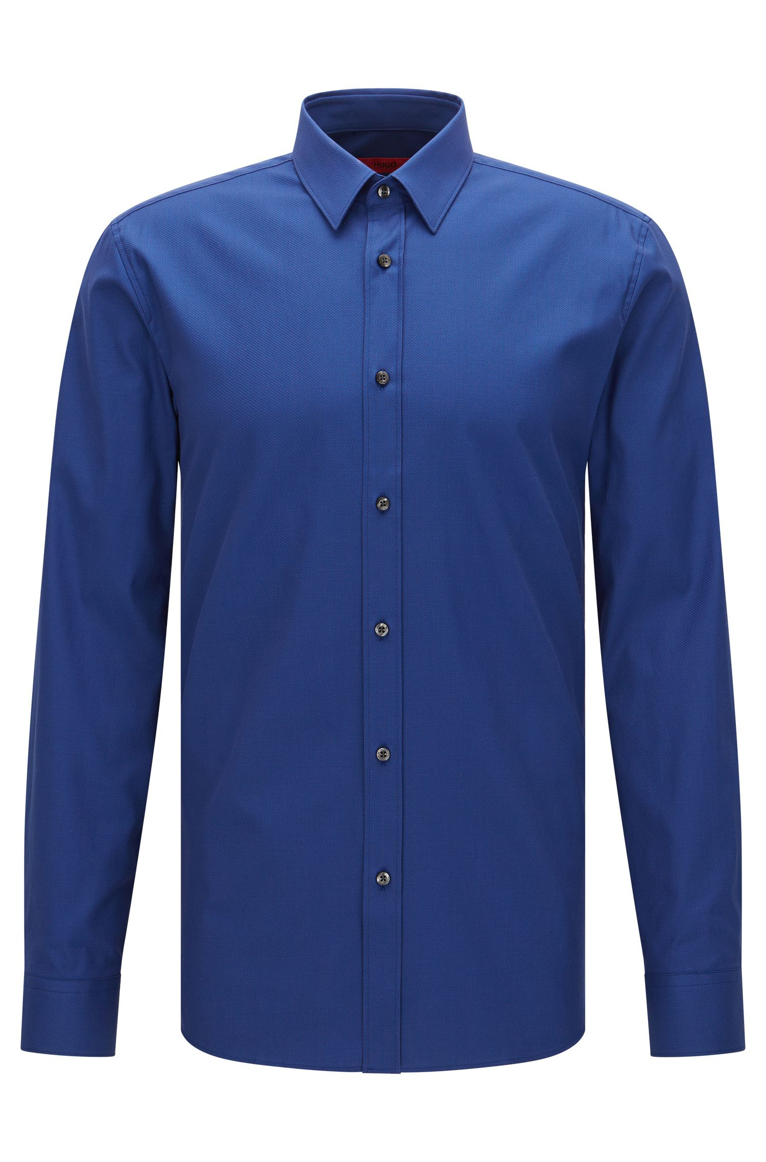 Extra slim-fit shirt in textured stretch cotton: 'Elisha'