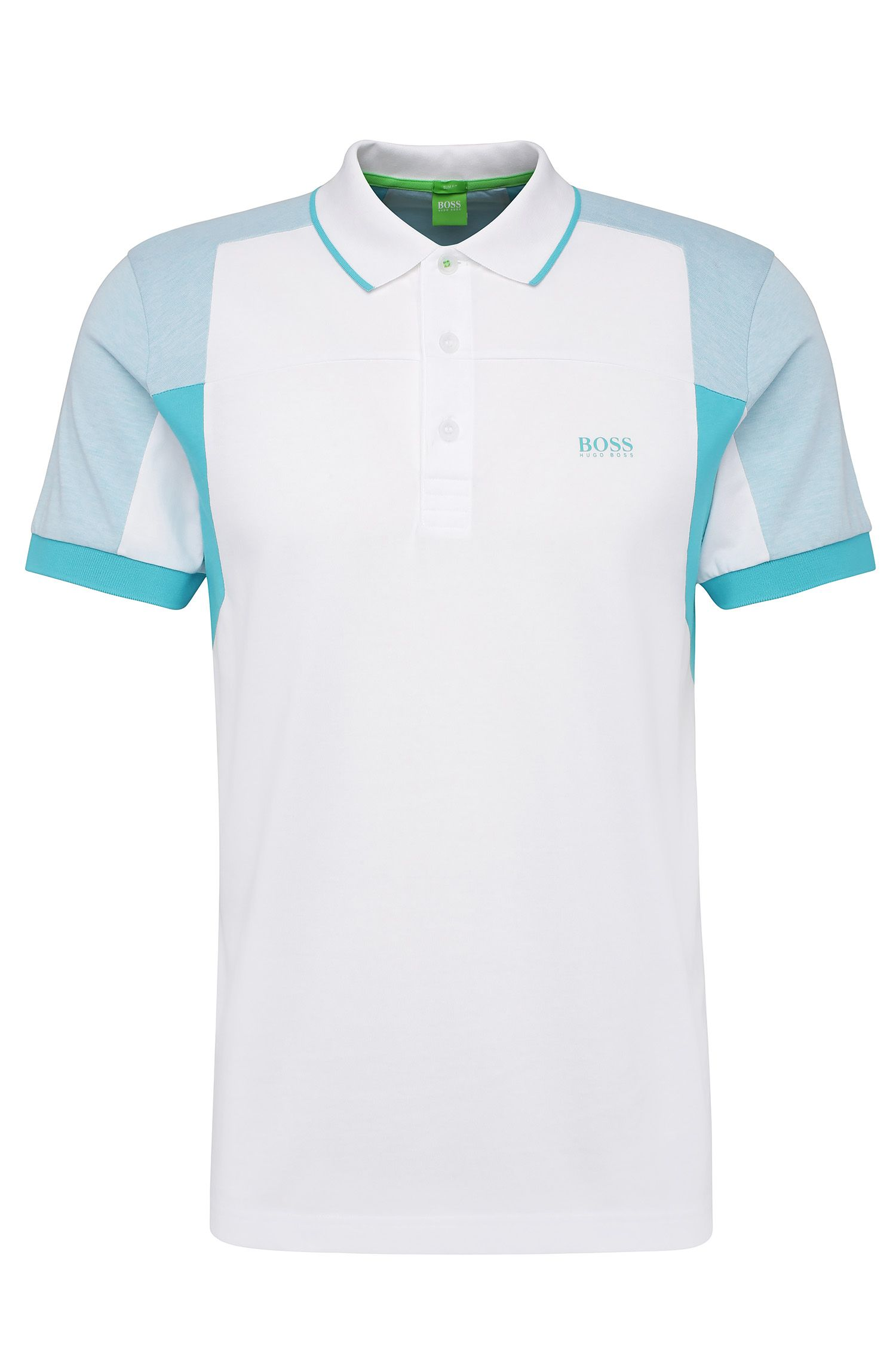 Slim-fit polo van een katoenmix in colourblocklook: 'Paule 6'