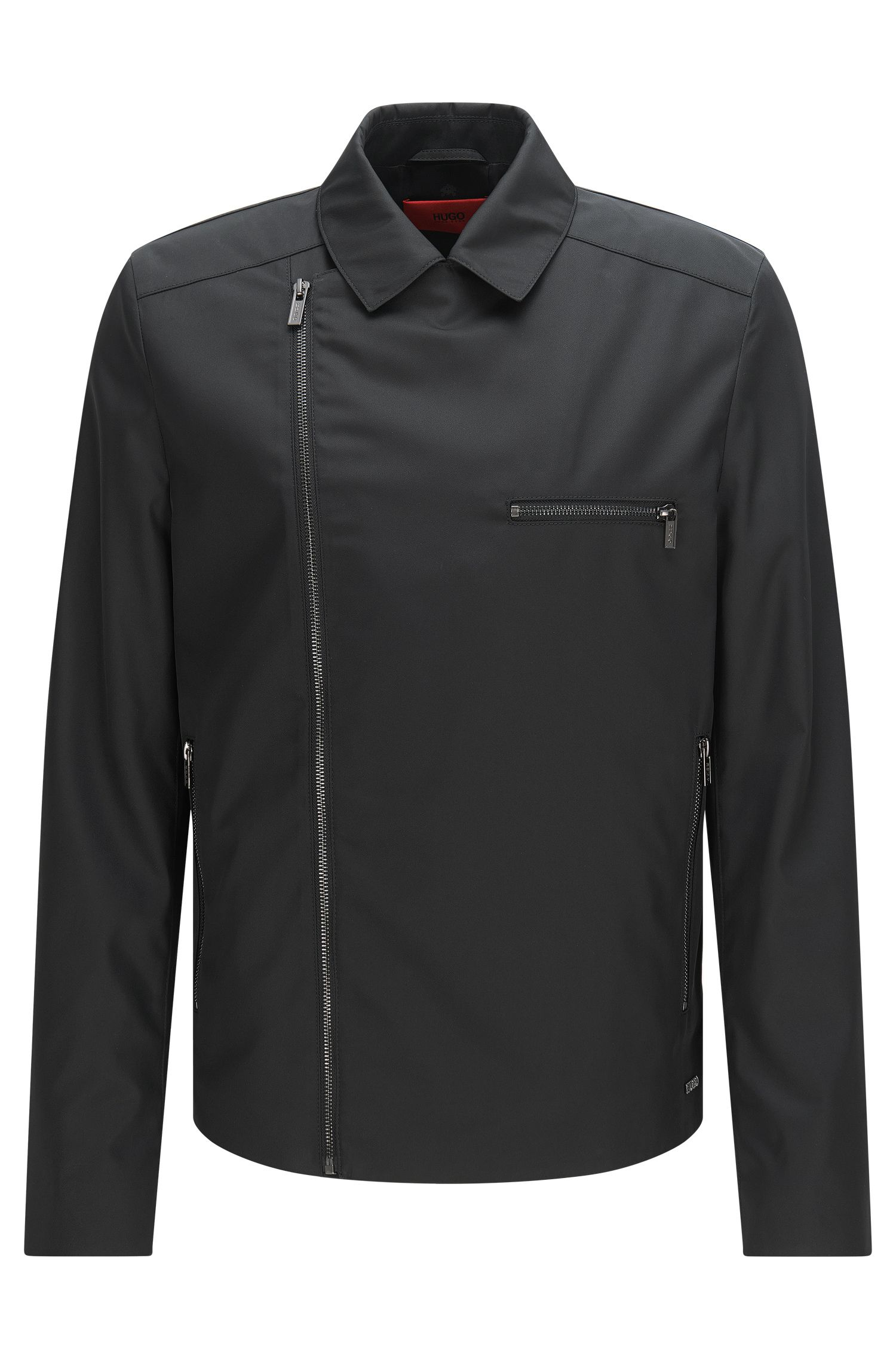 Jacket in material blend with asymmetric zip: 'Bexton'