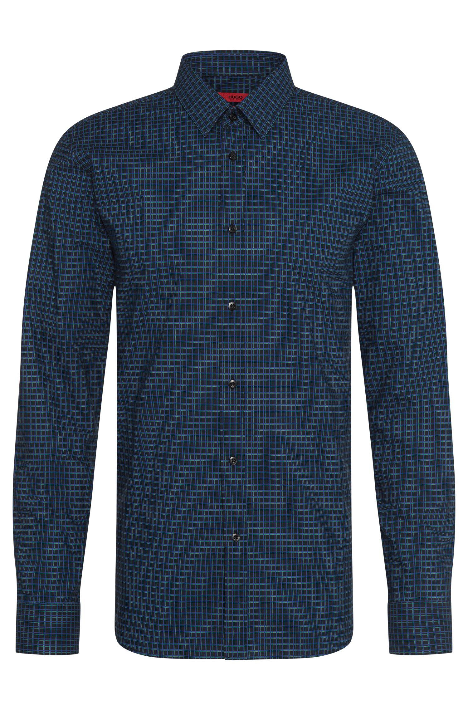 Checked extra slim-fit shirt in cotton: 'Elisha'