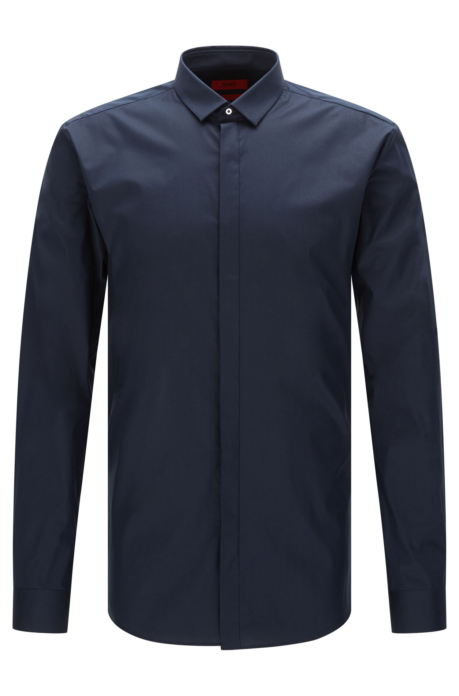 Chemise Extra Slim Fit en coton stretch à patte de boutonnage invisible: «Ebros»
