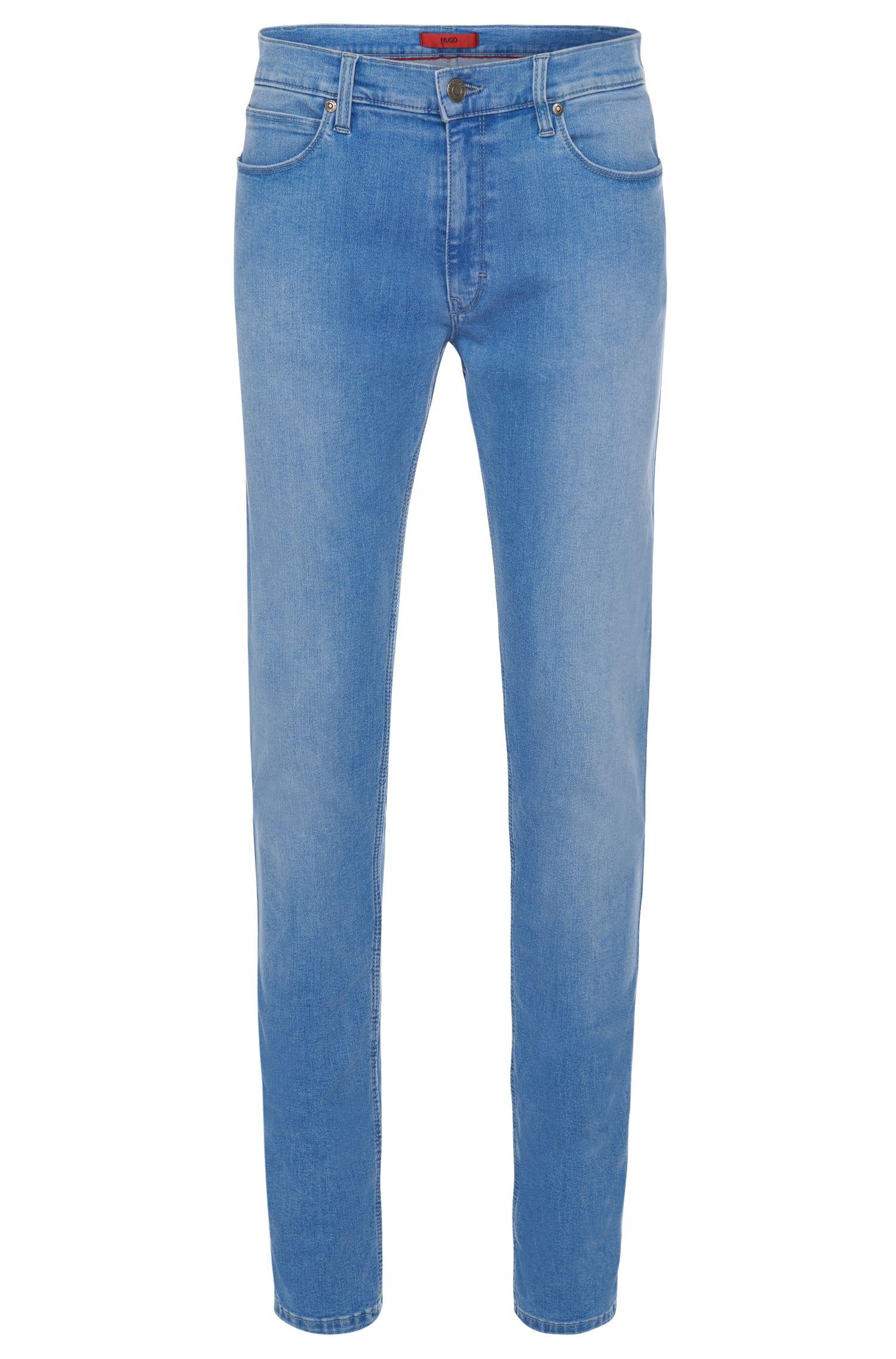 Jeans Skinny-Fit en coton mélangé extensible avec effet délavé: «HUGO734»