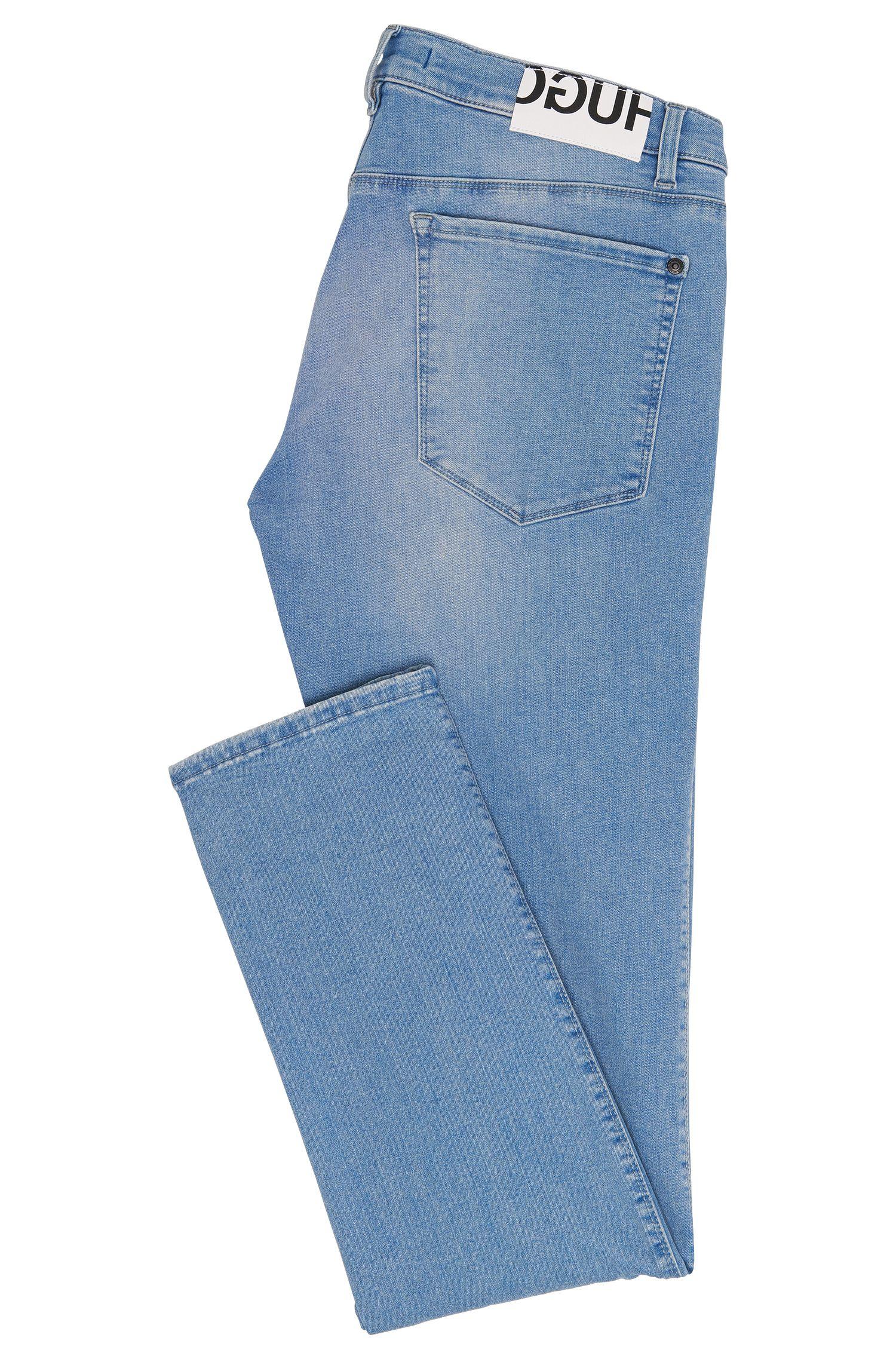Jeans Slim Fit en coton mélangé extensible au délavage usé: «HUGO708»
