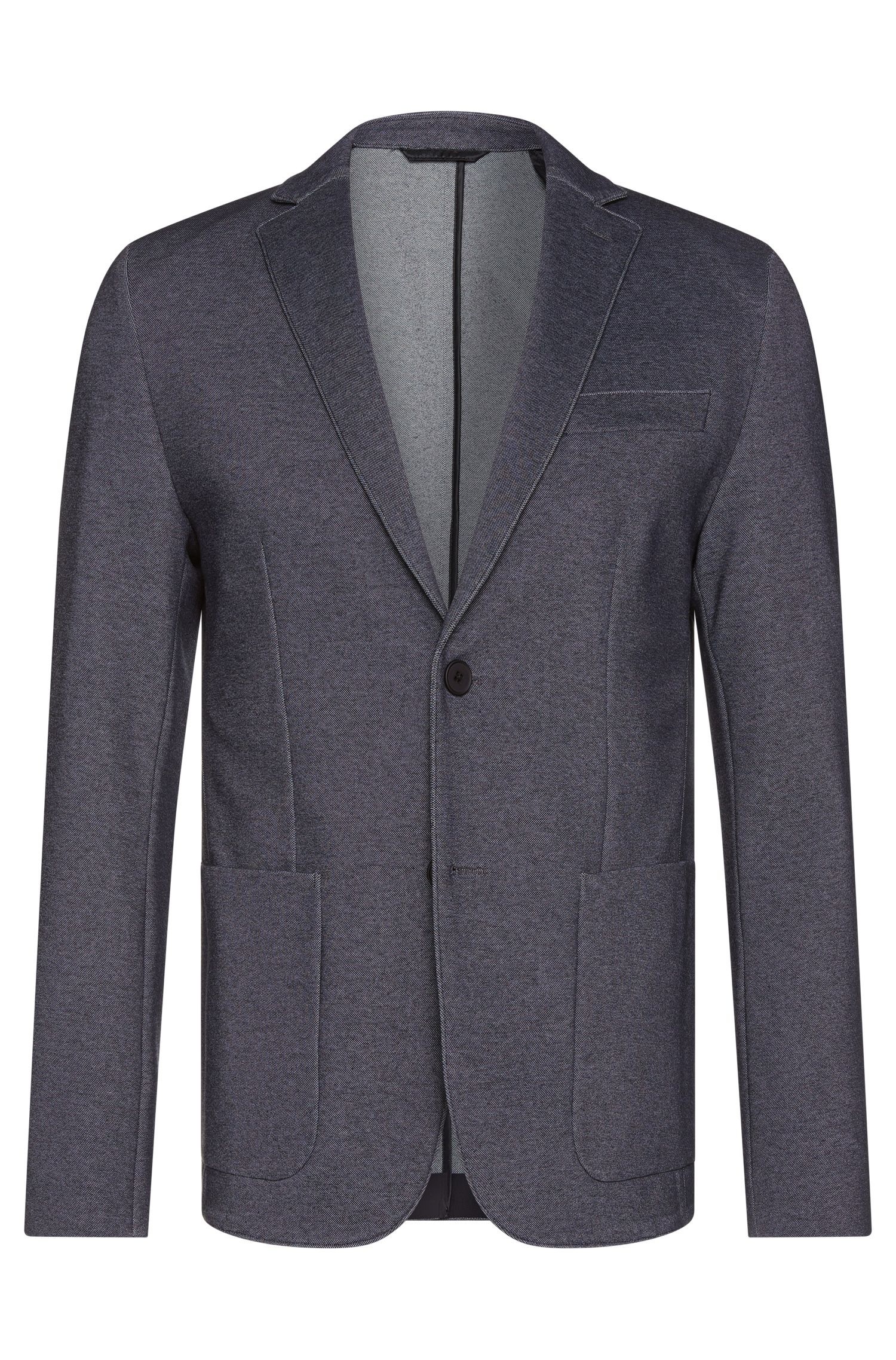 Extra slim-fit jacket in a textured stretchy cotton blend: 'Ricko1'