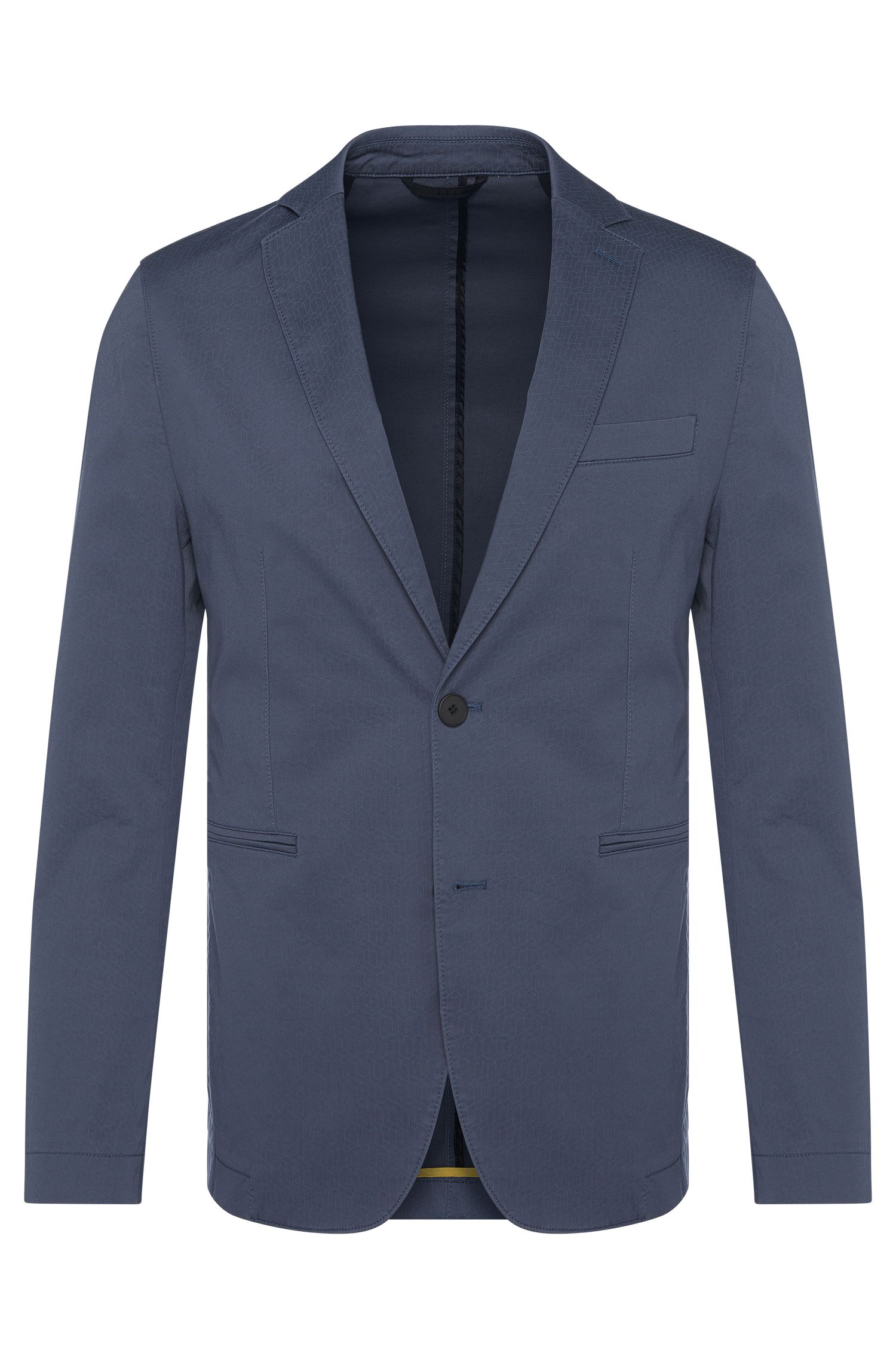 Patterned slim-fit jacket in stretch cotton: 'Norvid-W'