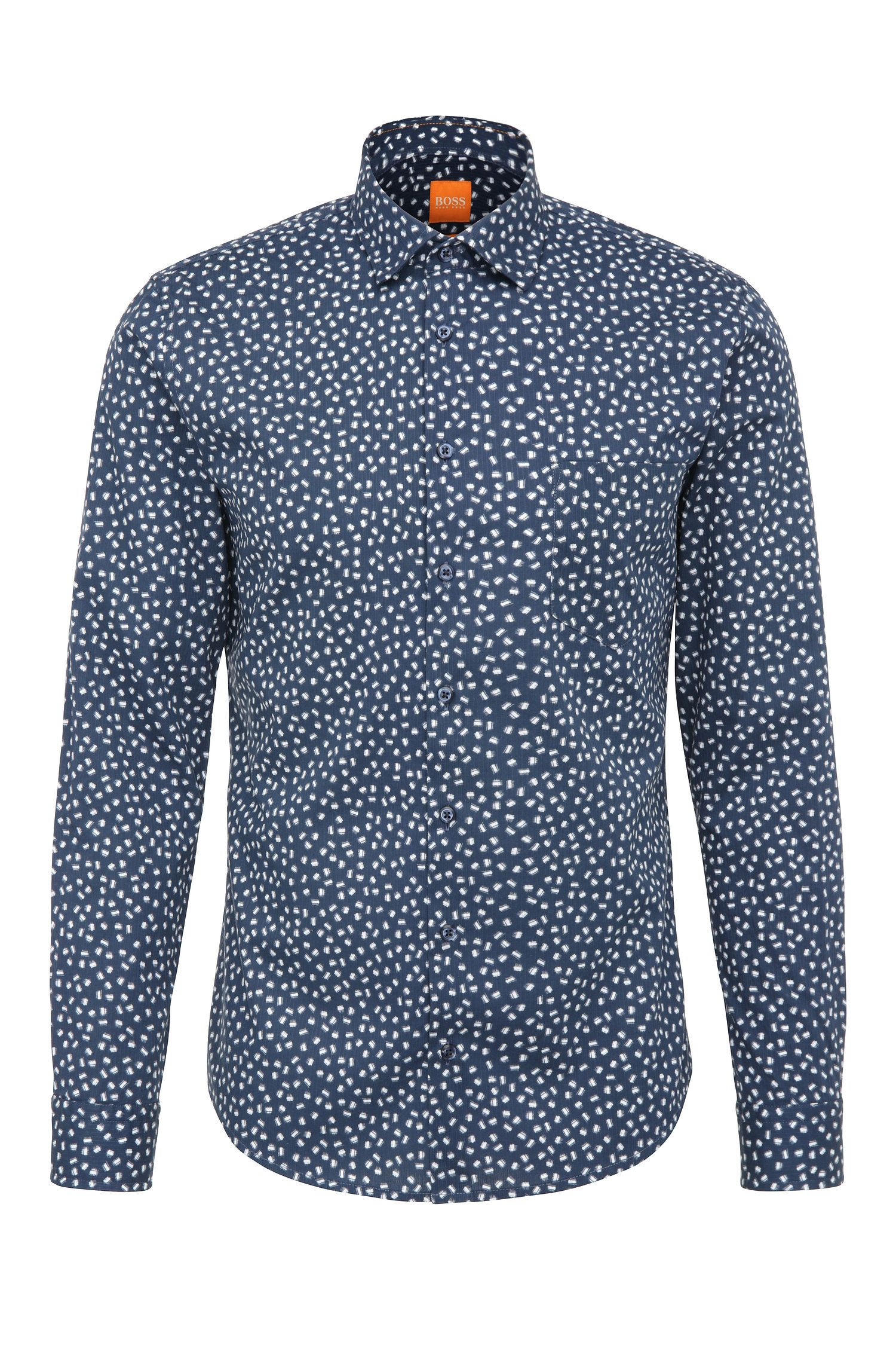 Slim-fit shirt in cotton with print: 'Epop'