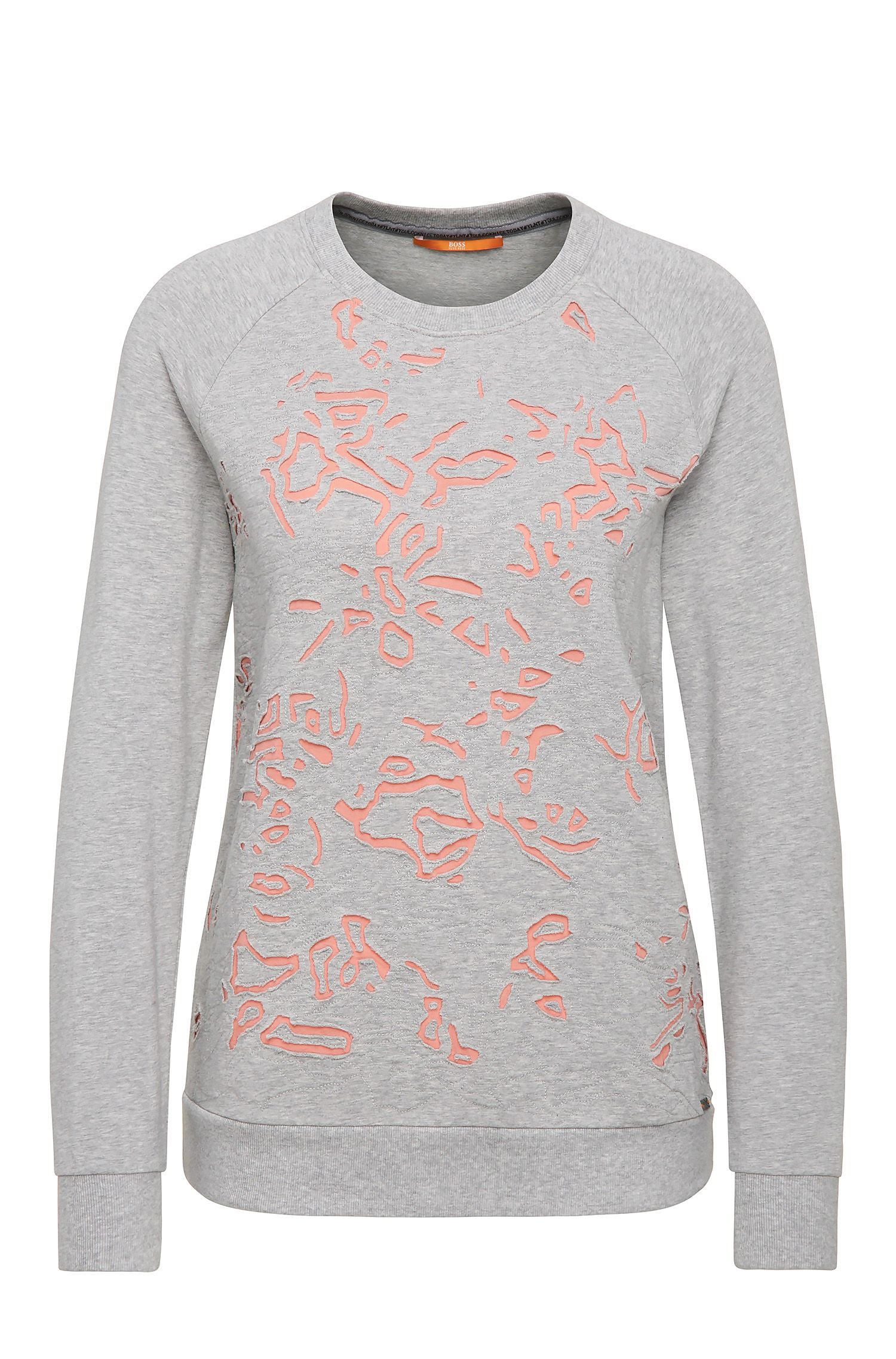 Regular-fit sweatshirt in stretchy viscose blend with cotton: 'Tercut'