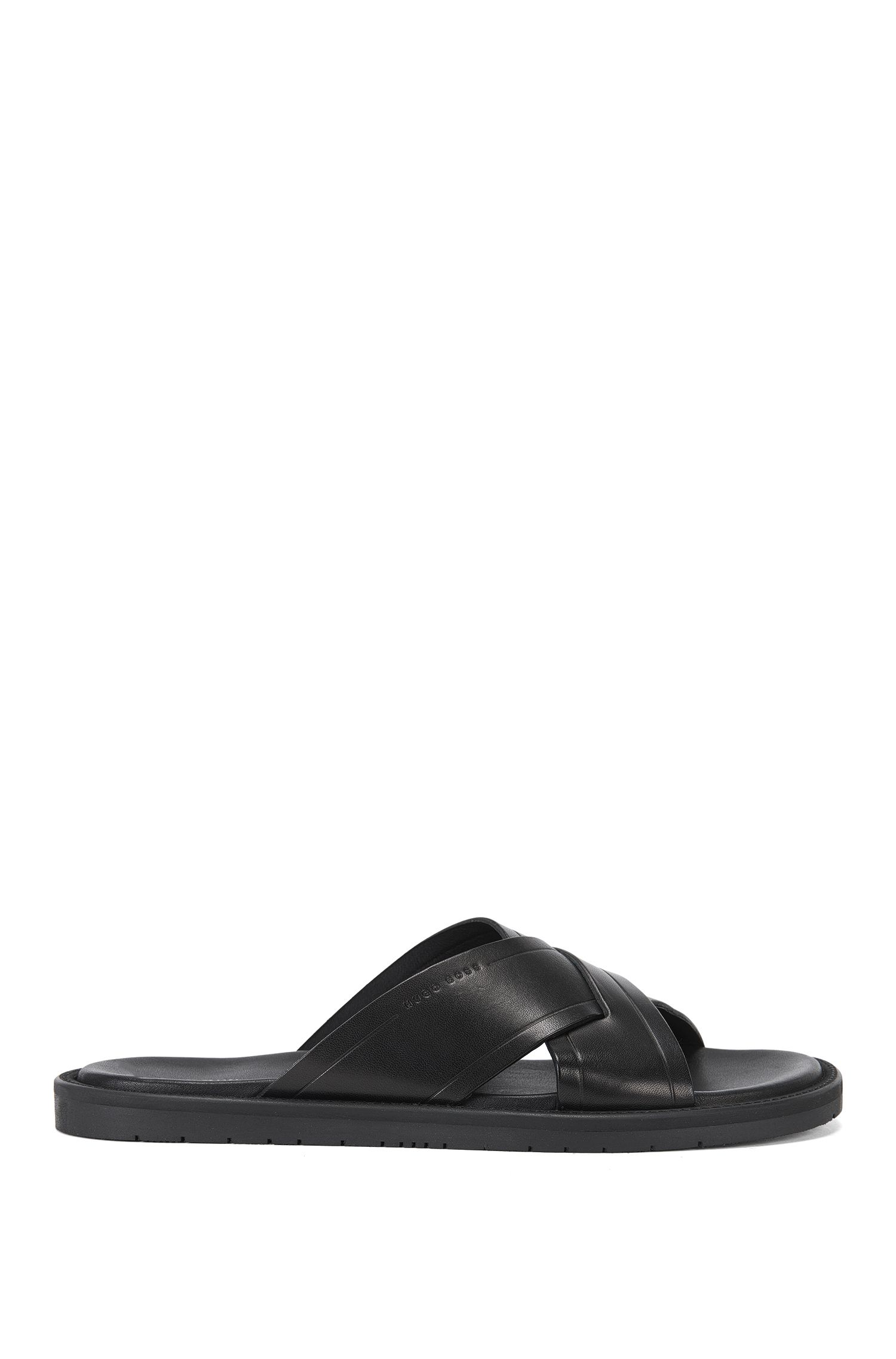 Plain-coloured leather sandals: 'Hamptons_Slid_ltcc'