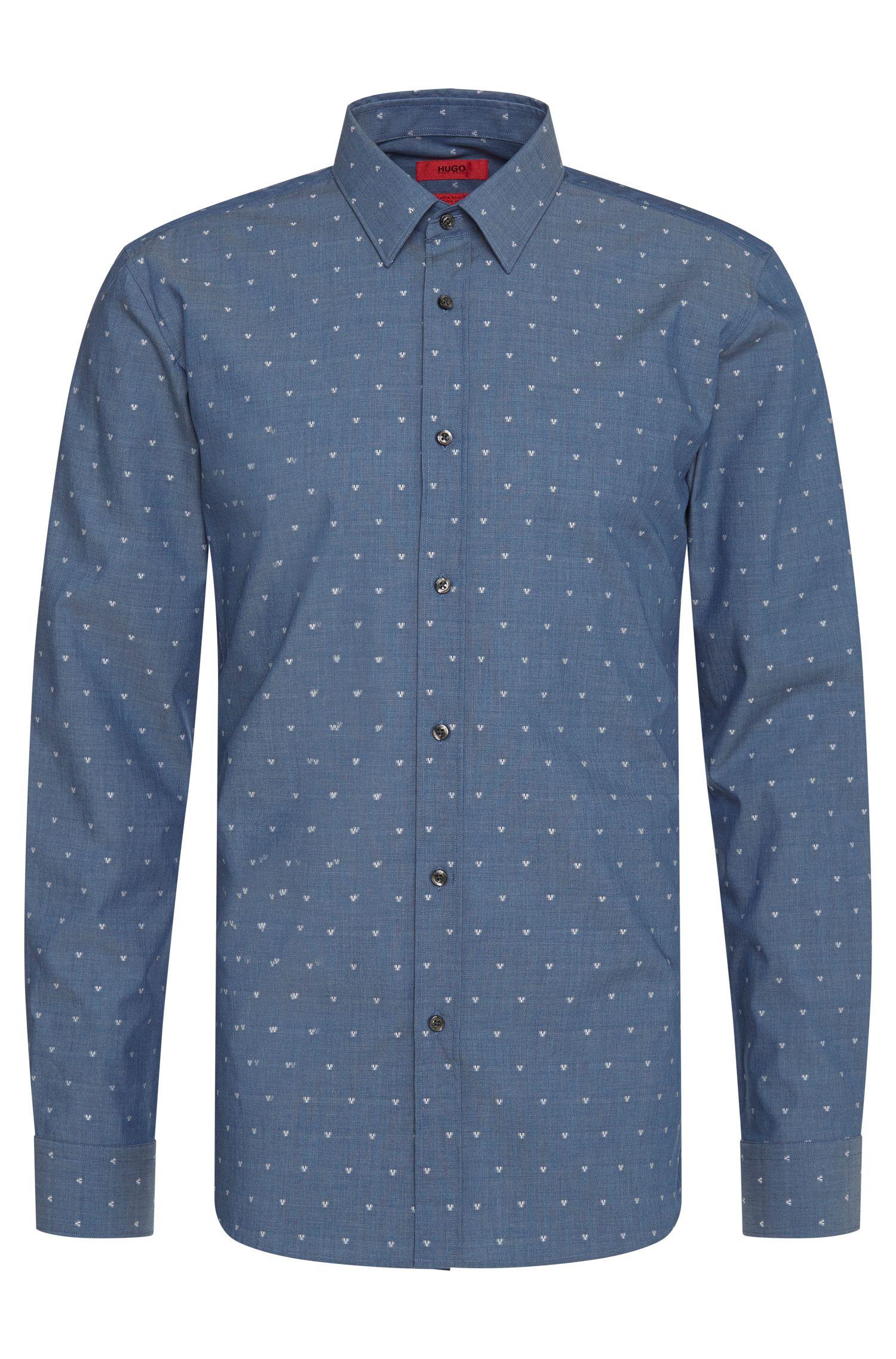 Gemustertes Extra Slim-Fit Hemd aus Baumwolle: 'Elisha'