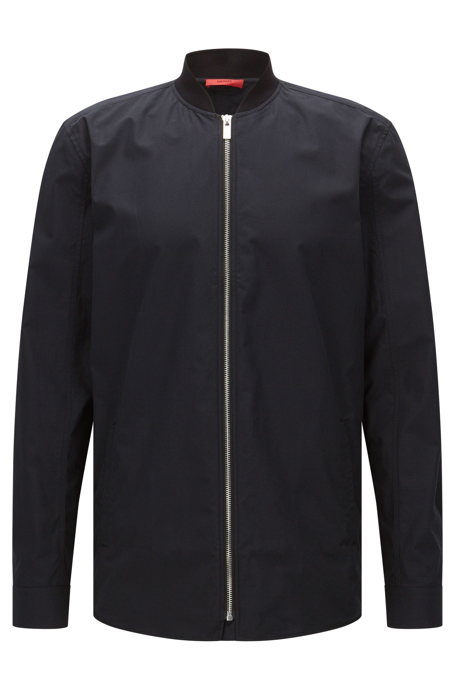 Oversized-fit shirt in cotton in bomber jacket style: 'Esuper'