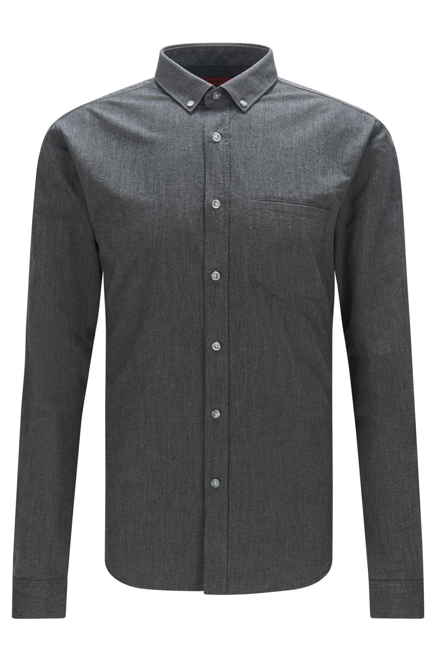 Meliertes Extra Slim-Fit Hemd aus Baumwolle: 'Enico'