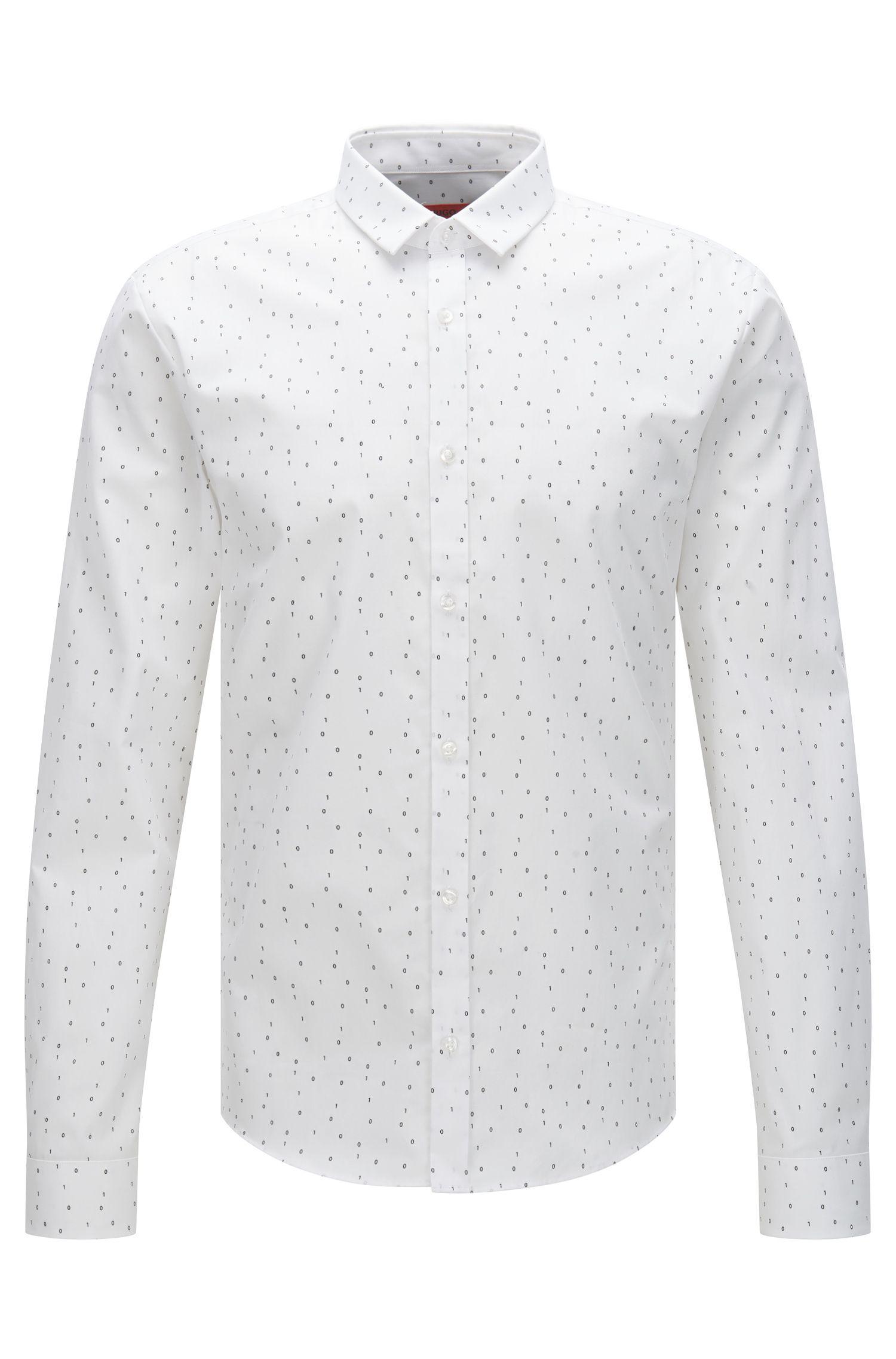 Gemustertes Extra Slim-Fit Hemd aus Baumwolle: 'Ero3'