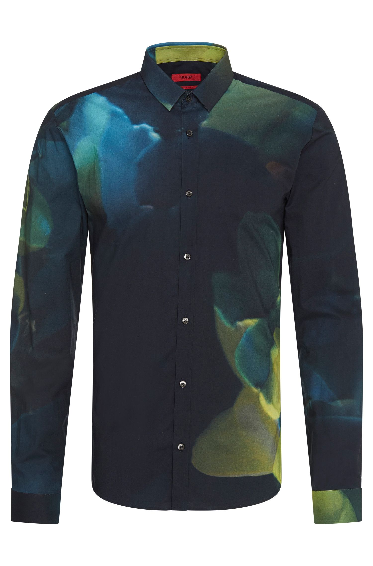 Extra-slim fit cotton shirt in an abstract pattern: 'Ero3'