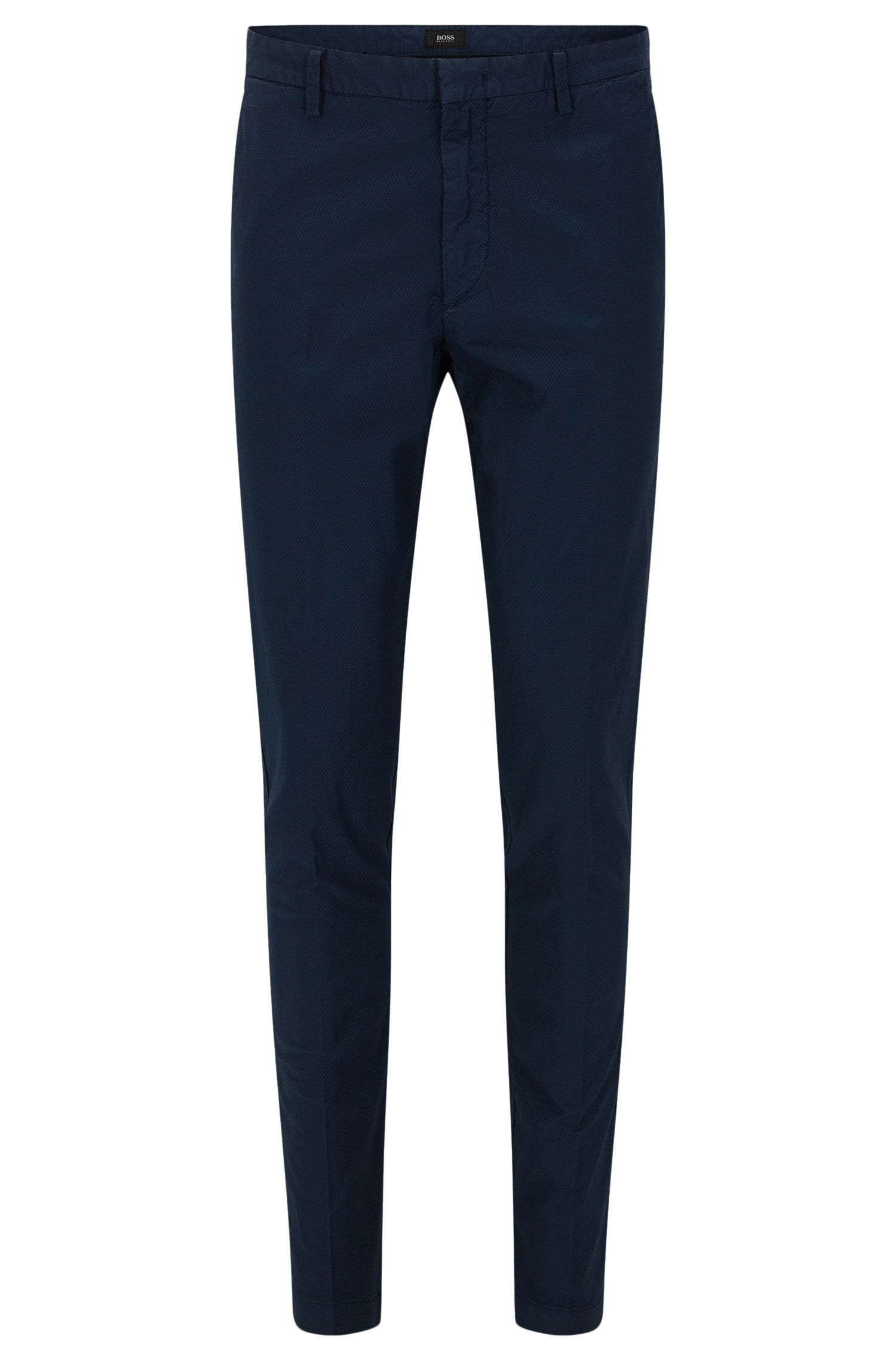 Slim-fit trousers in textured stretch cotton: 'Kaito3-D'