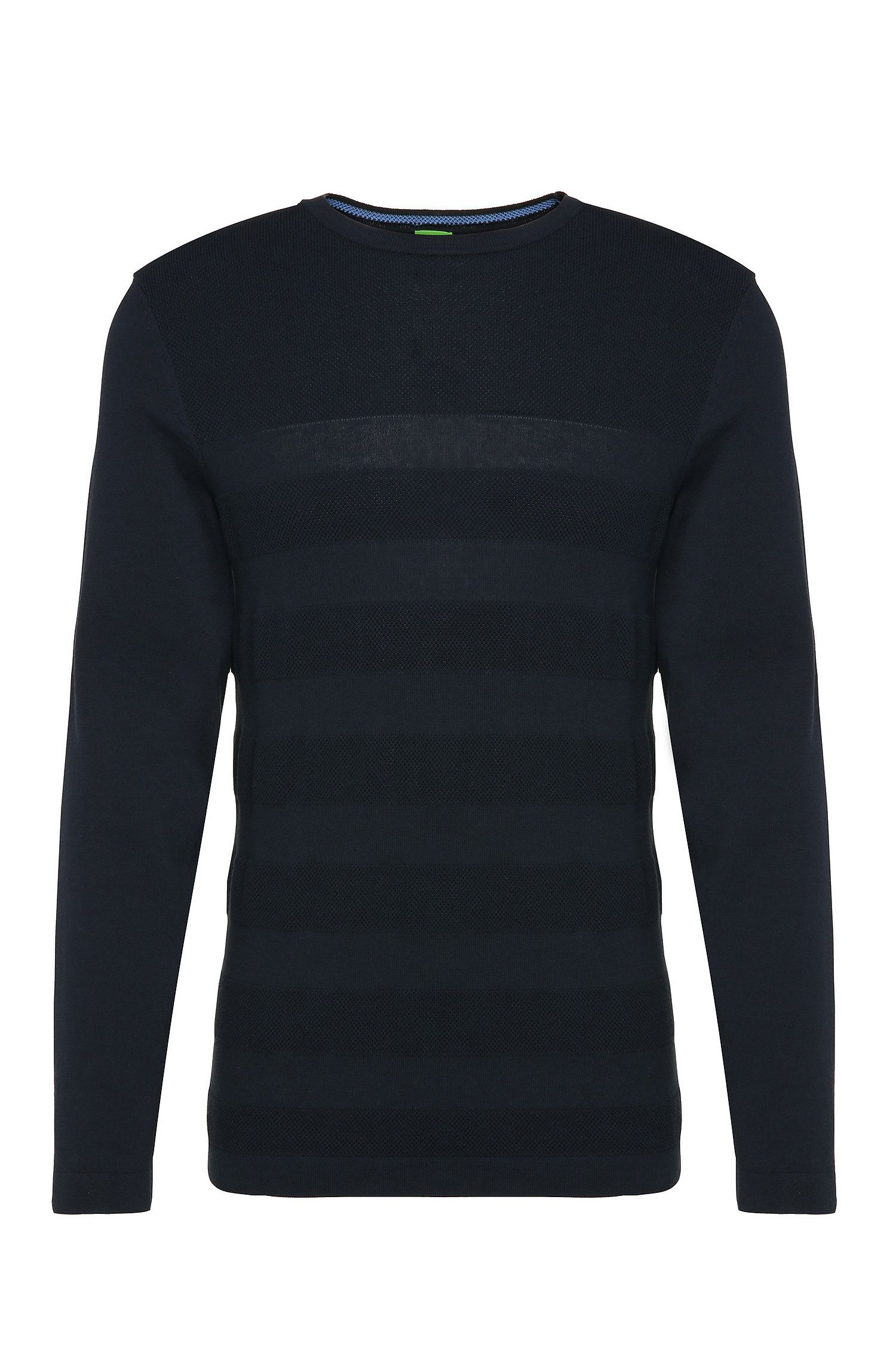 Striped slim-fit knitted sweater in cotton: 'Rupe'