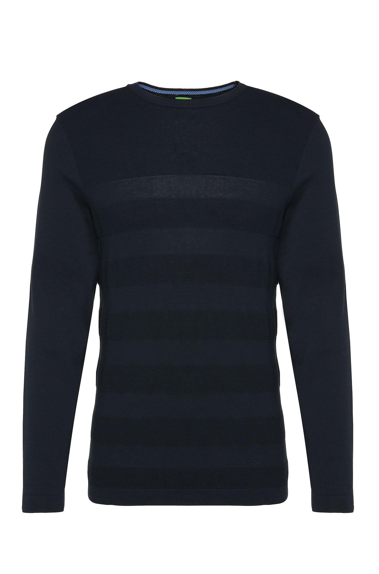 Gebreide slim-fit trui van katoen met streepdessin: 'Rupe'