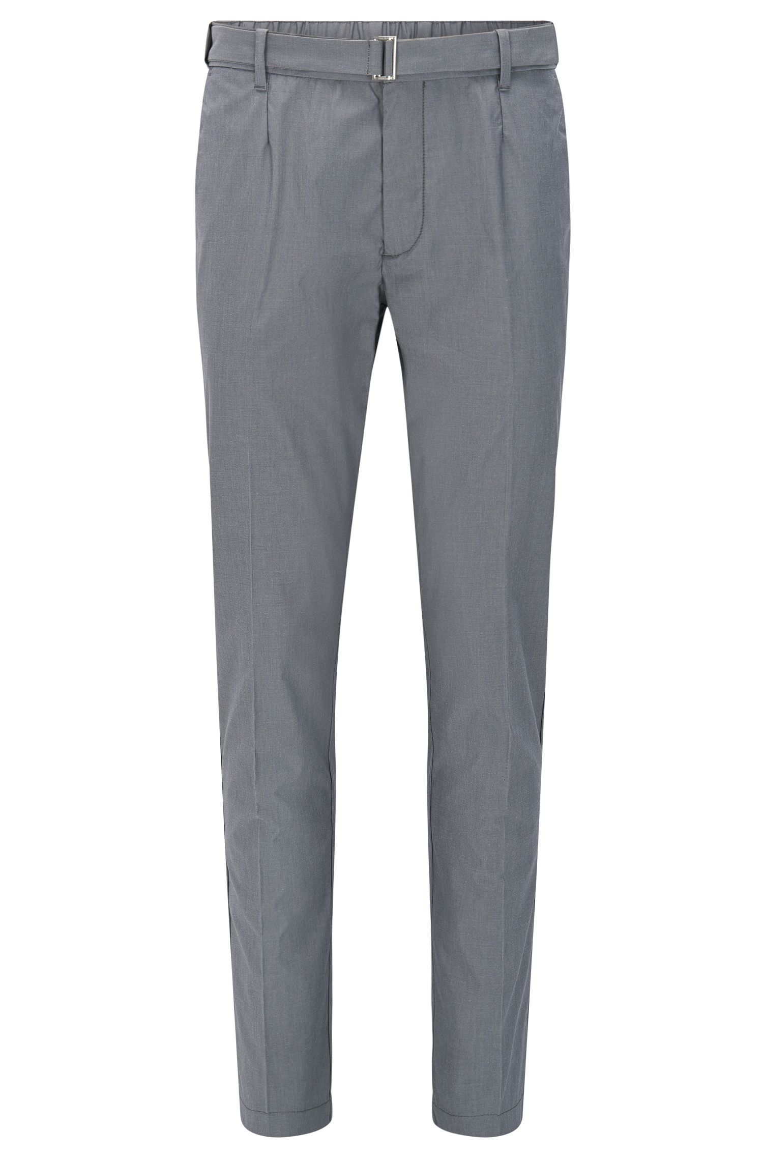 Slim-fit trousers in a stretch cotton blend with silk: 'Kito-Belt-W'