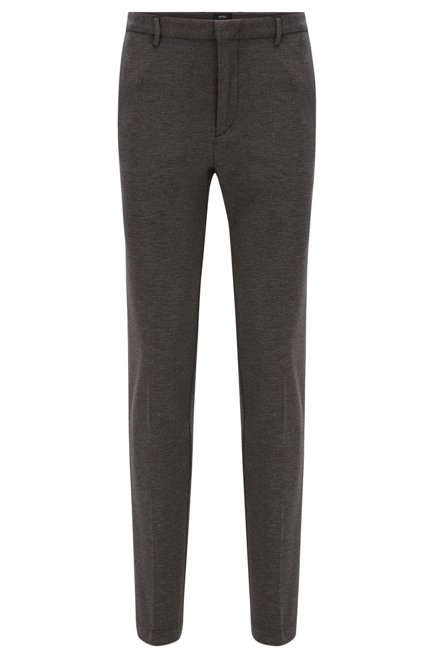 Mottled slim-fit trousers with pressed creases in stretchy viscose blend: 'Kaito3-W'