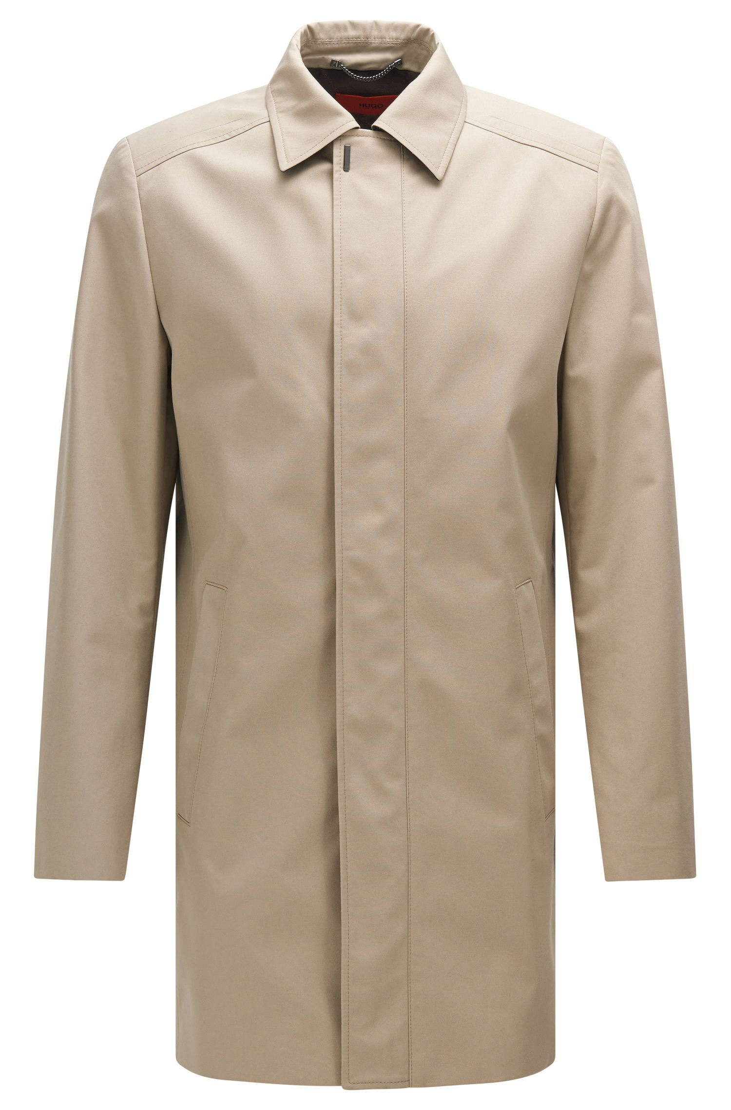 Regular-fit coat in water-repellent fabric blend with cotton: 'C-Makti'