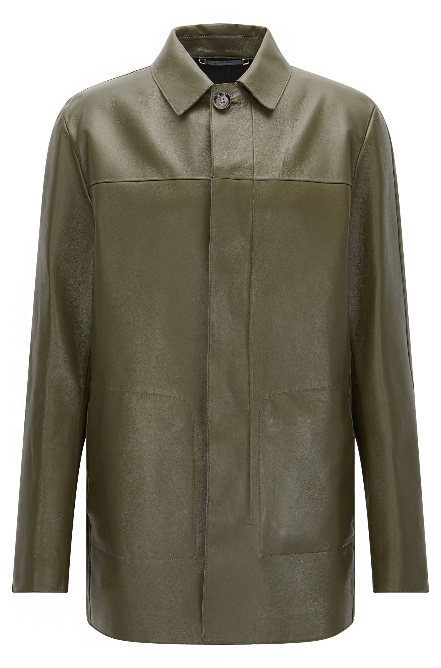 Tailored leather coat with concealed button placket `TCoppin`