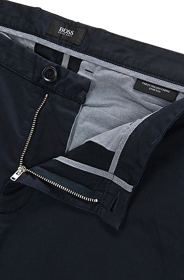 丝光弹力棉修身版斜纹裤,  402_暗蓝色