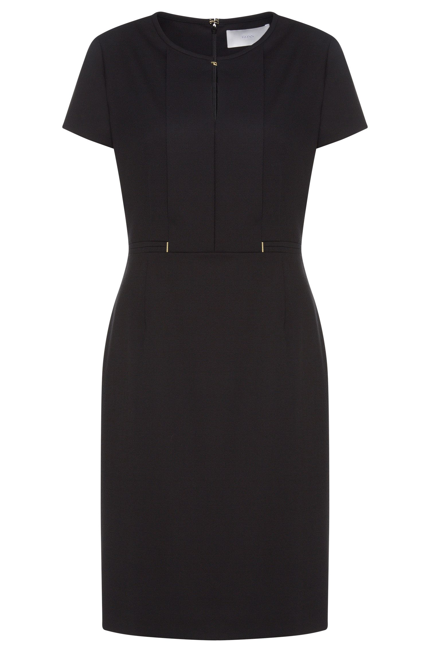 Sheath dress in stretch new wool with panel: 'Dimondi'