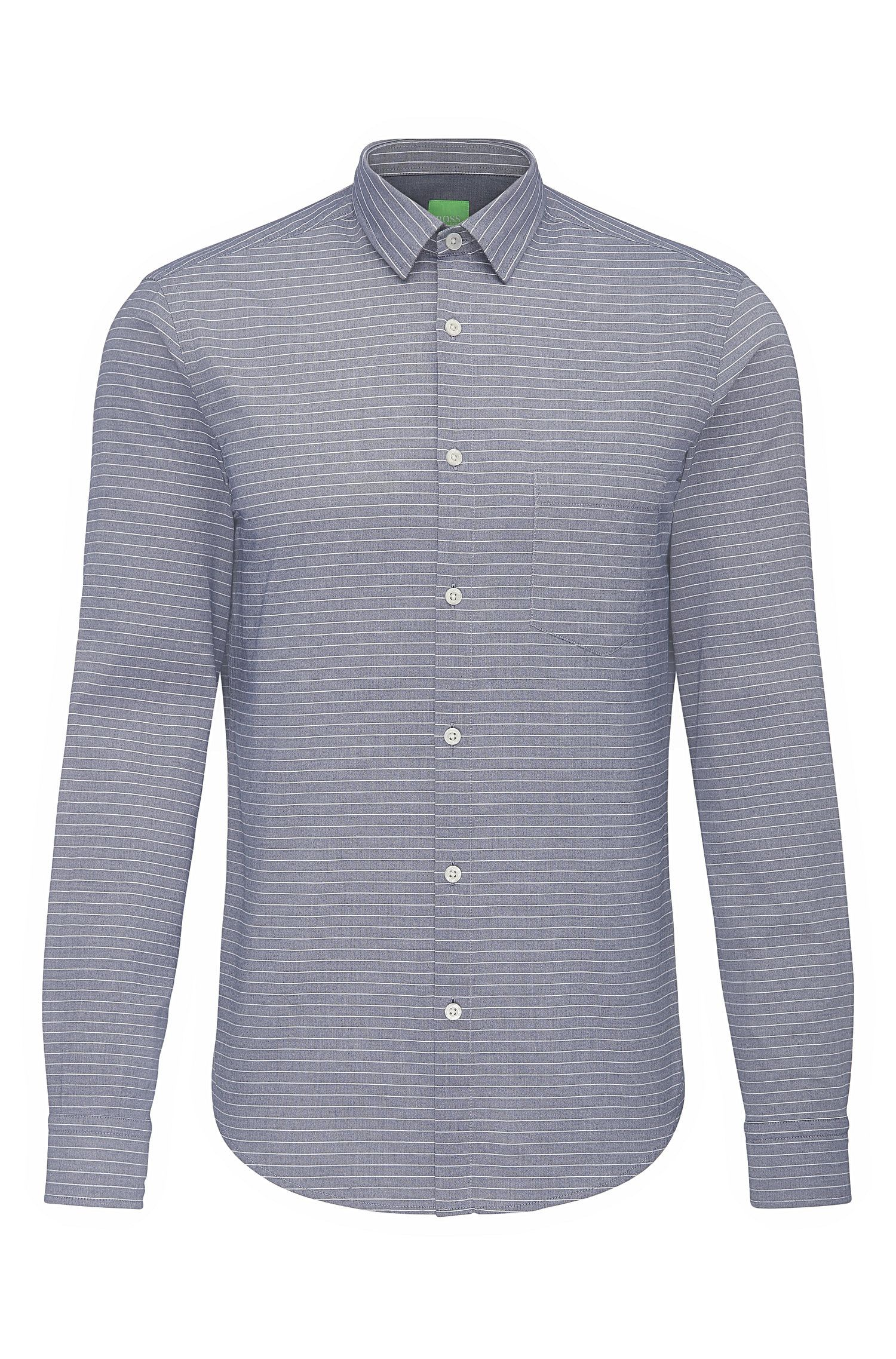 Regular-fit cotton shirt with striped pattern: 'C-Baul'