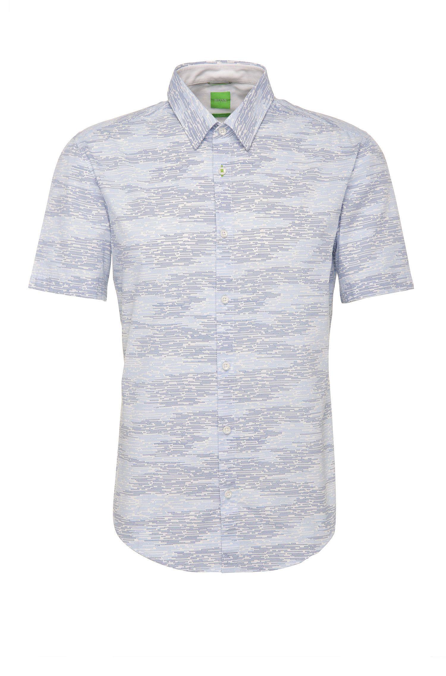 Slim-fit overhemd van katoen met korte mouwen en dessin: 'Bhillo'