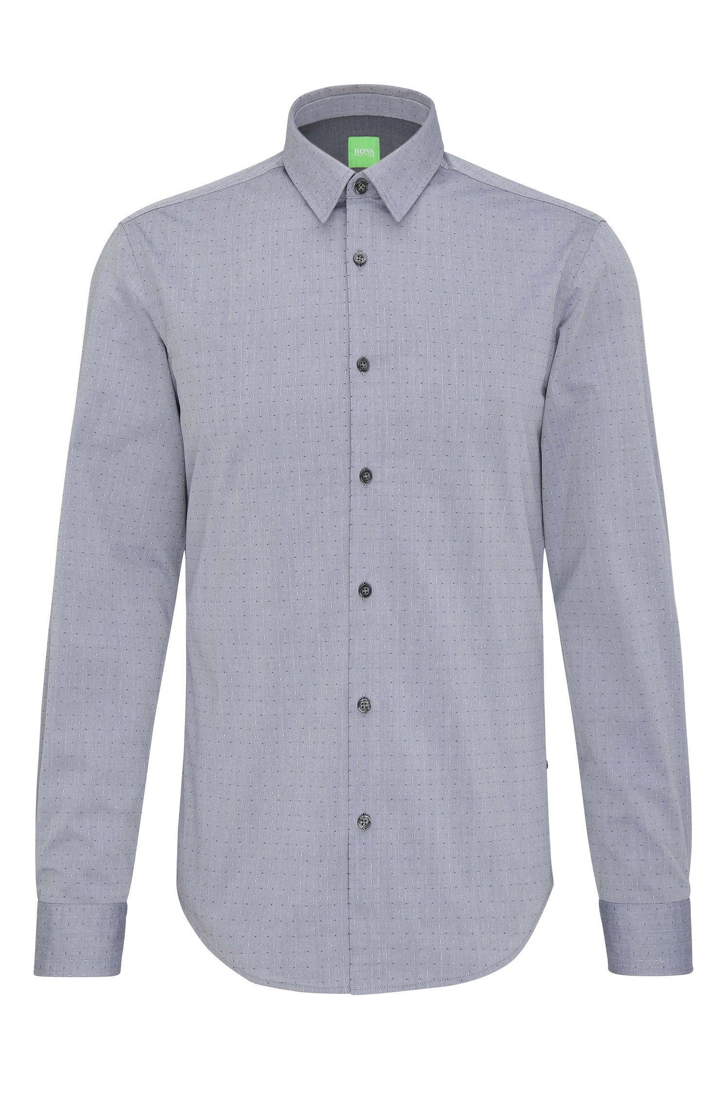 Finely patterned regular-fit shirt in cotton: 'C-Bustai'