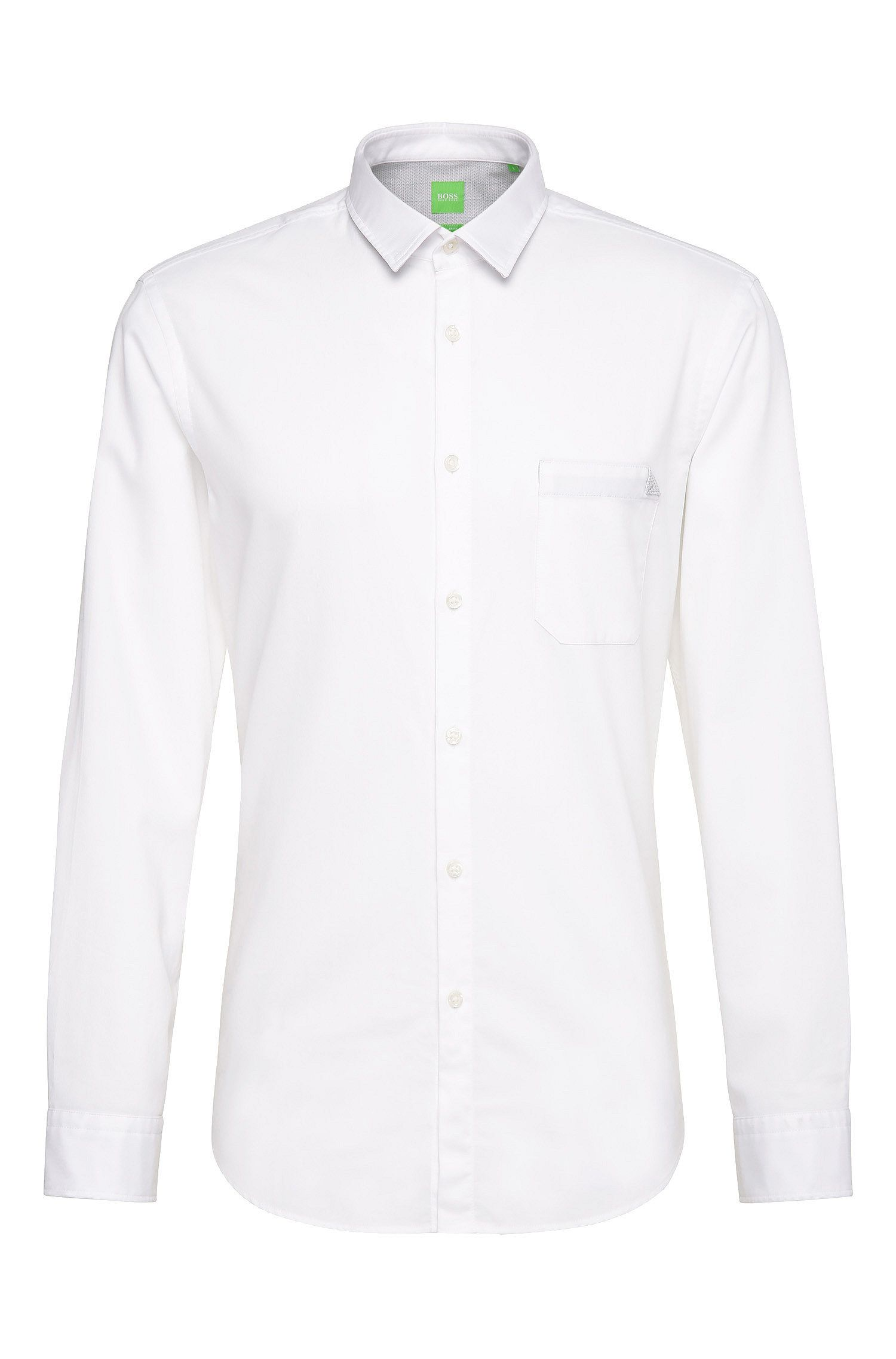 Camicia regular fit in cotone tinta unita: 'C-Bruel'