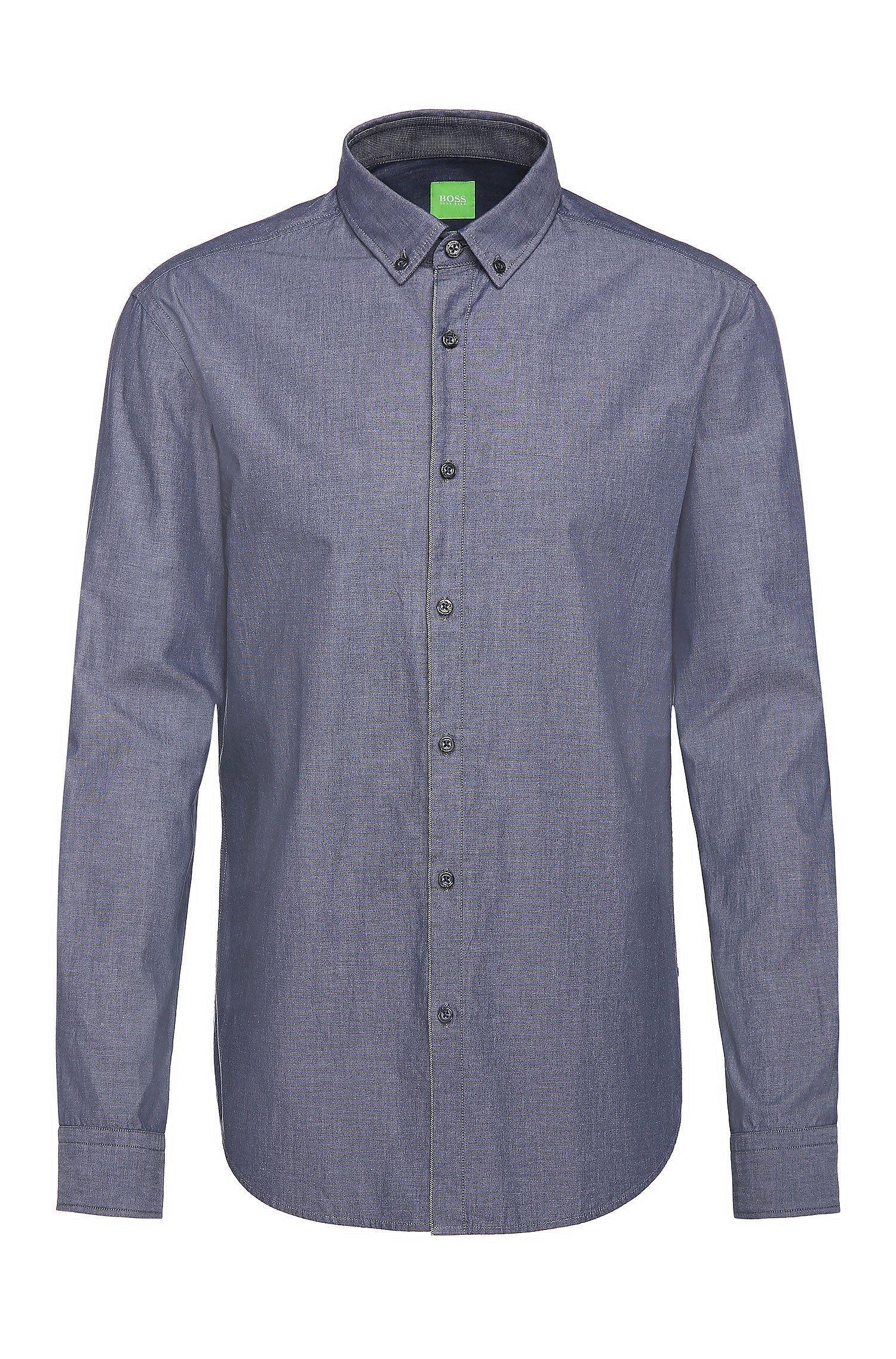 Slim-fit cotton shirt with melange texture: 'C-Baltero'
