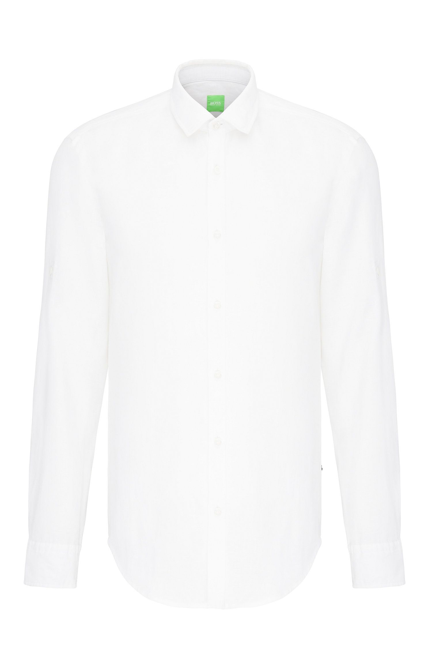 Plain regular-fit shirt in linen: 'C-Barbu'