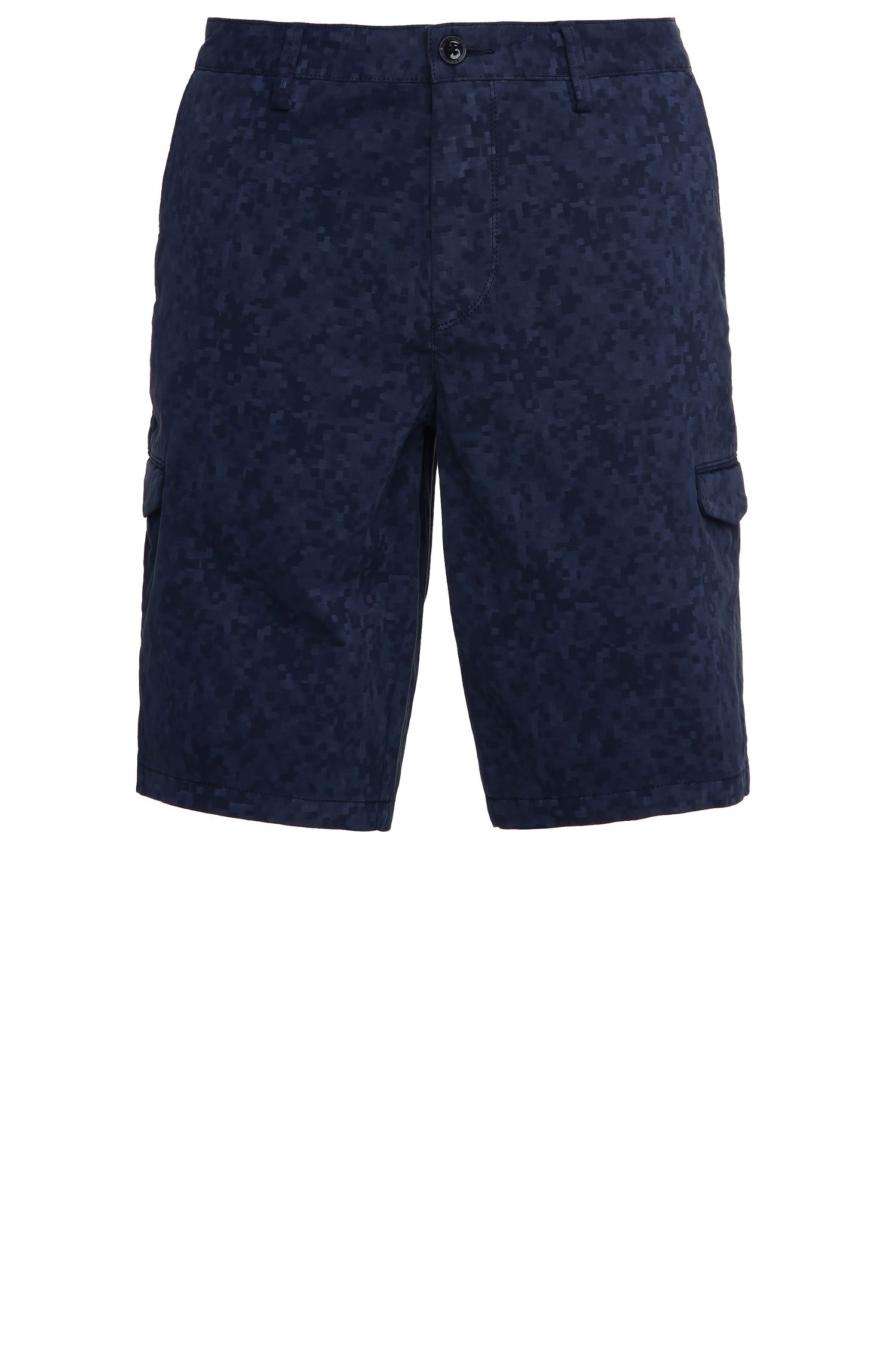 Patterned slim-fit cargo shorts in stretch cotton: 'Liem4-2-D'