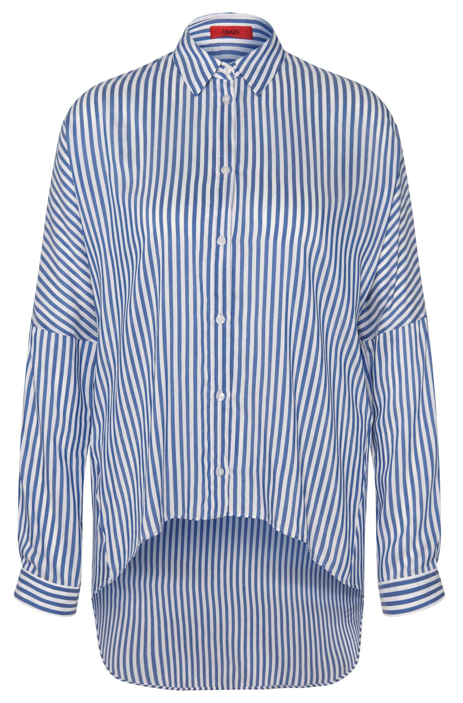 Gestreepte, lange blouse van een viscosemix met zijde: 'Evanett'