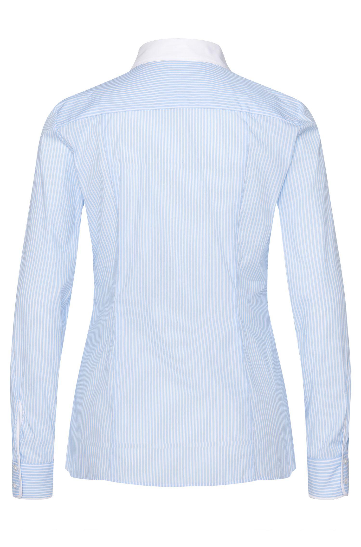 Gestreepte overhemdblouse van een elastische katoenmix: 'Etrina'