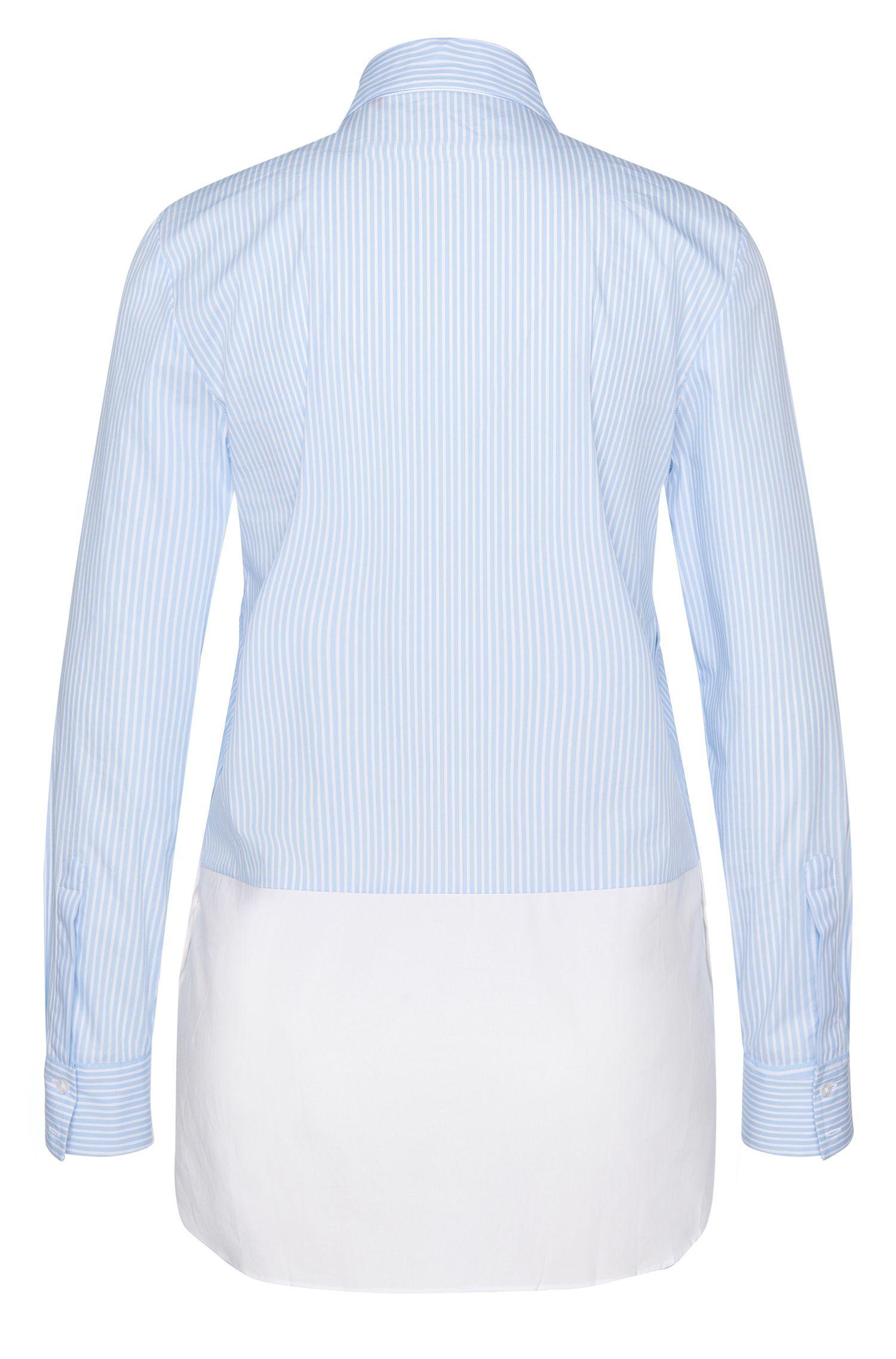 Gestreifte Bluse aus elastischem Baumwoll-Mix im Lagen-Look: 'Efibia'