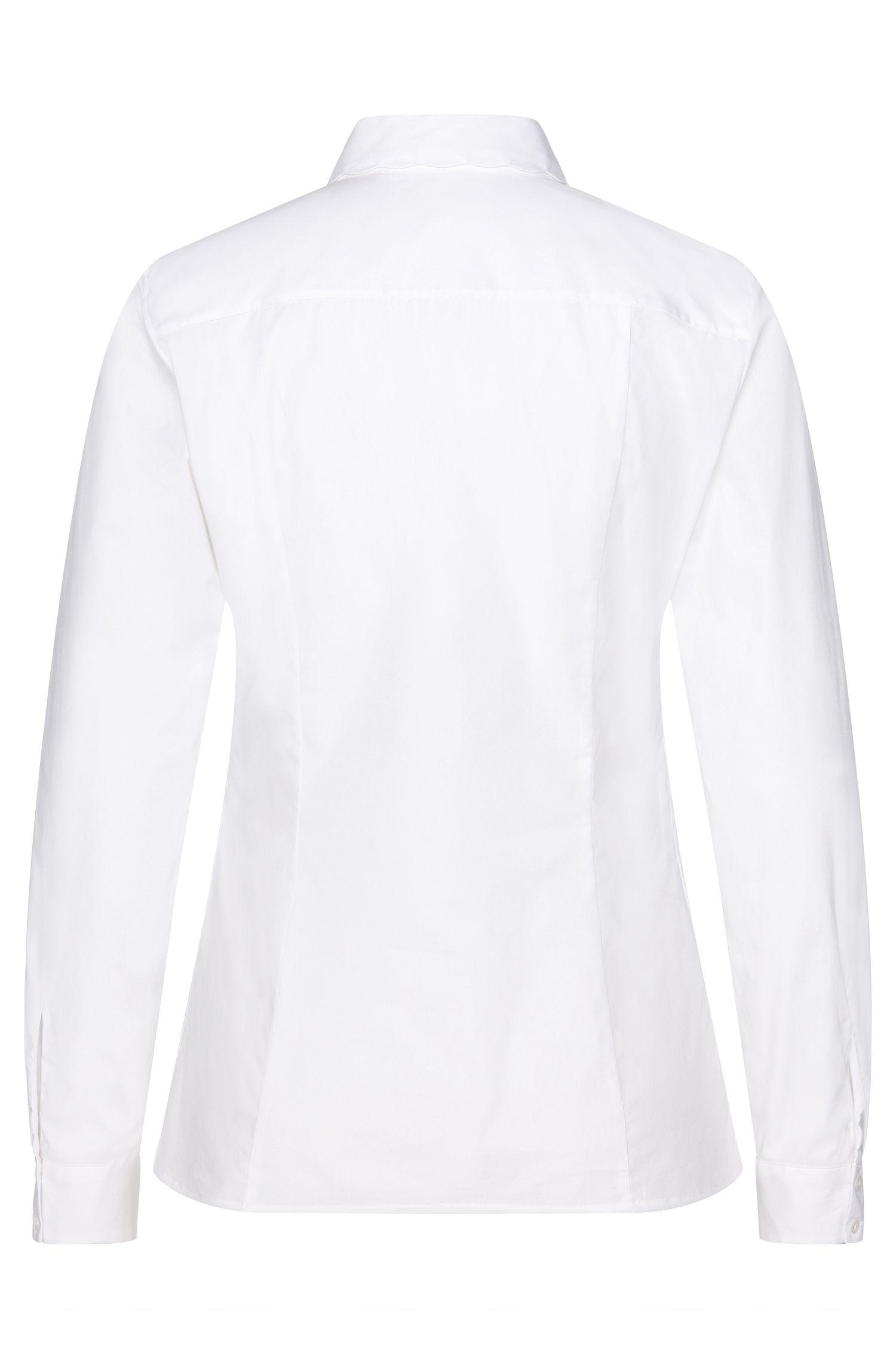 Taillierte Bluse aus Stretch-Baumwolle mit gewelltem Kragen: 'Etrina'
