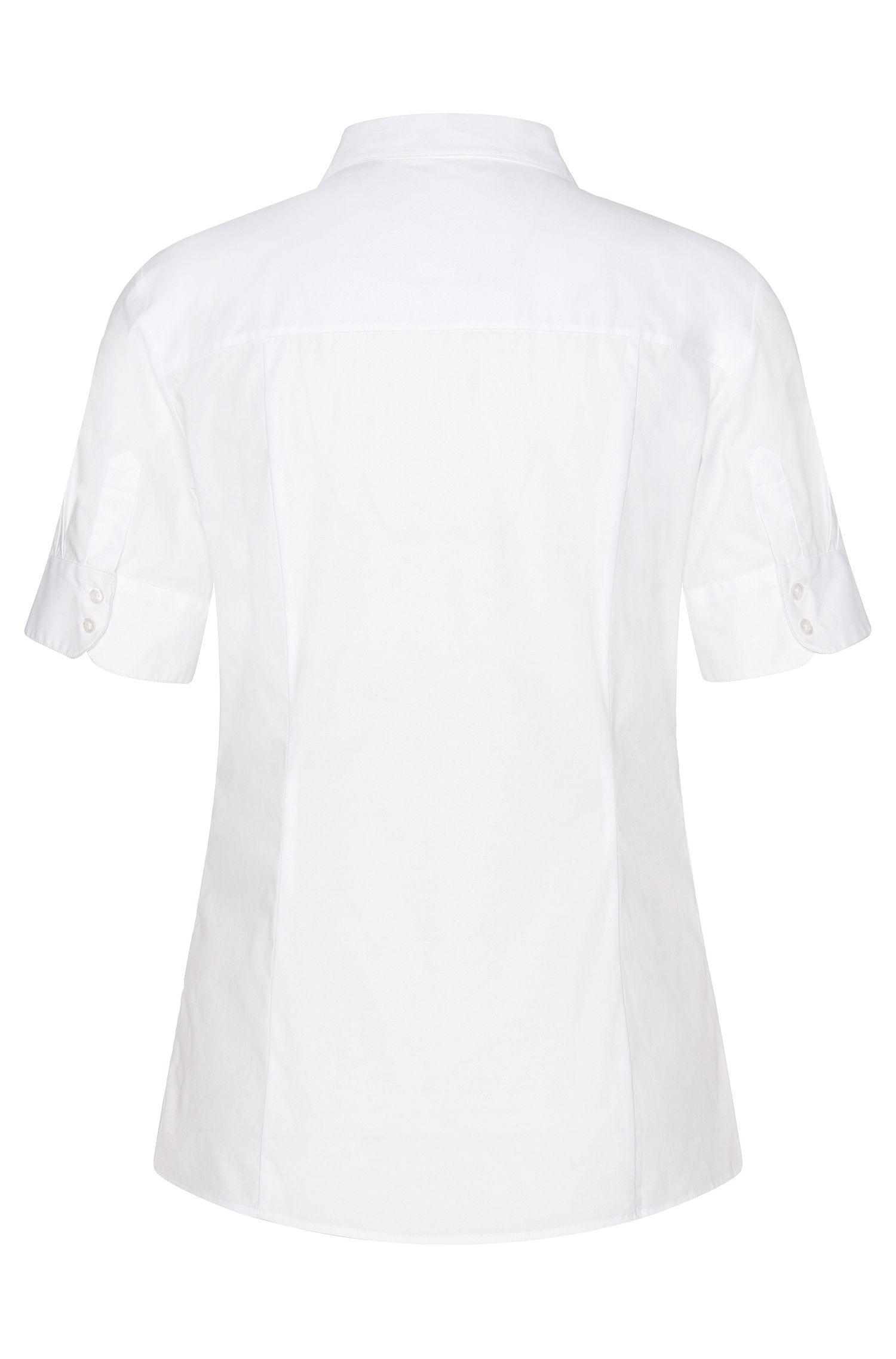 Chemisier cintré à manches courtes en coton extensible: «Eshine»
