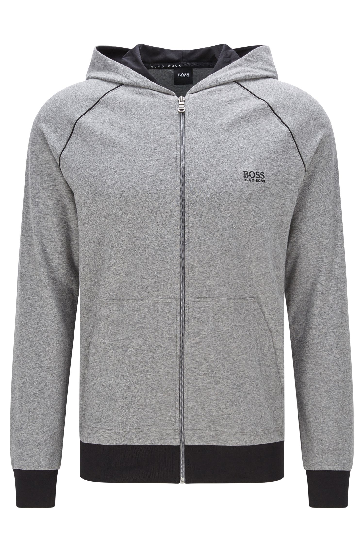 Regular-fit hooded sweatshirt jacket in stretch cotton: 'Jacket Hooded'