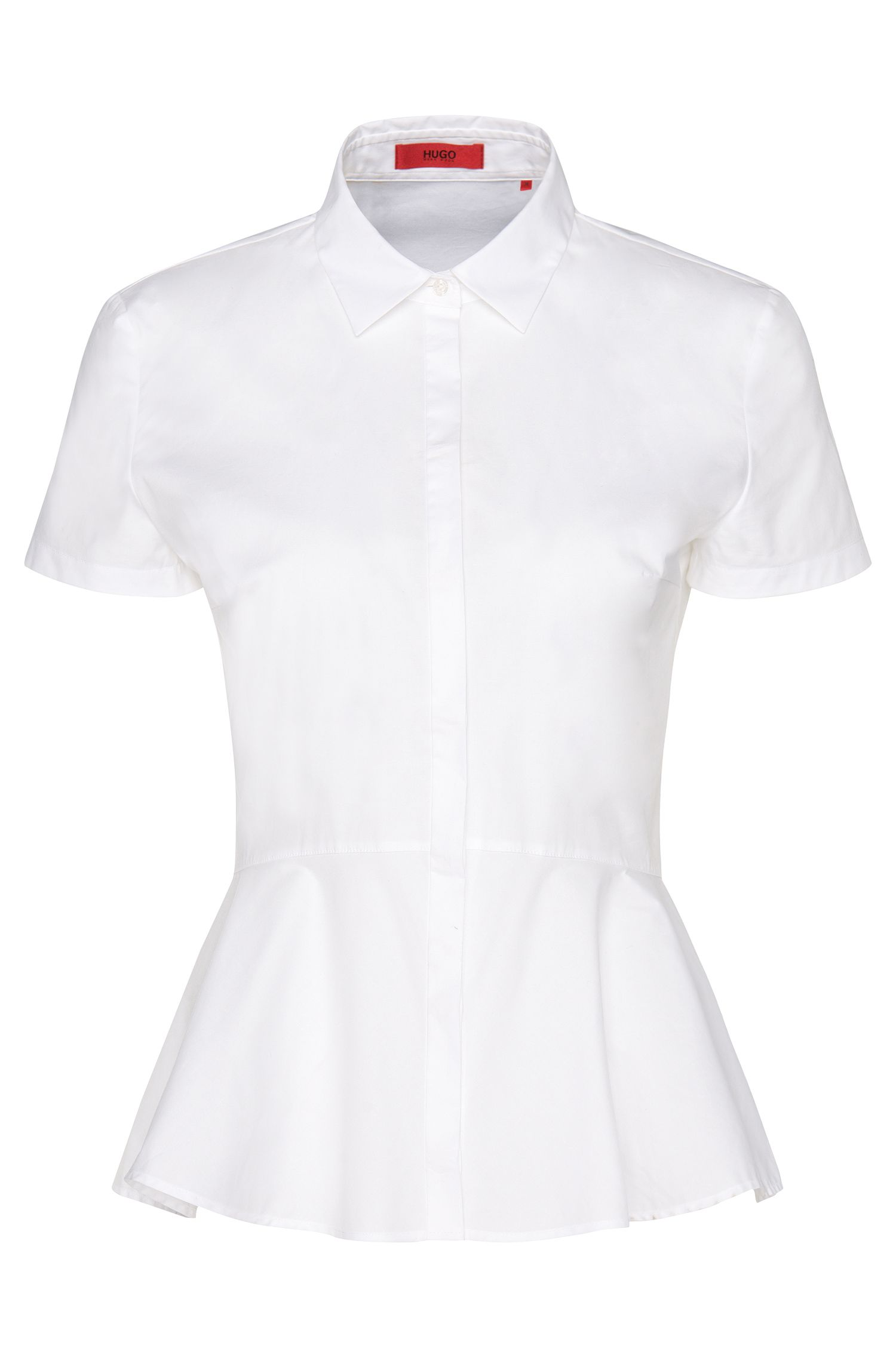 Short-sleeved blouse in stretch cotton with peplum: 'Efany'